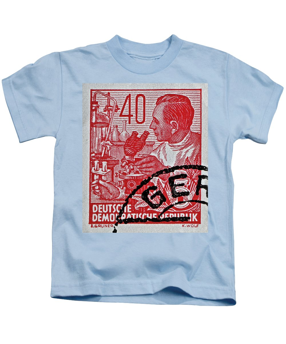 1957 Kids T-Shirt featuring the photograph 1957 German Democratic Republic Chemist Stamp by Bill Owen
