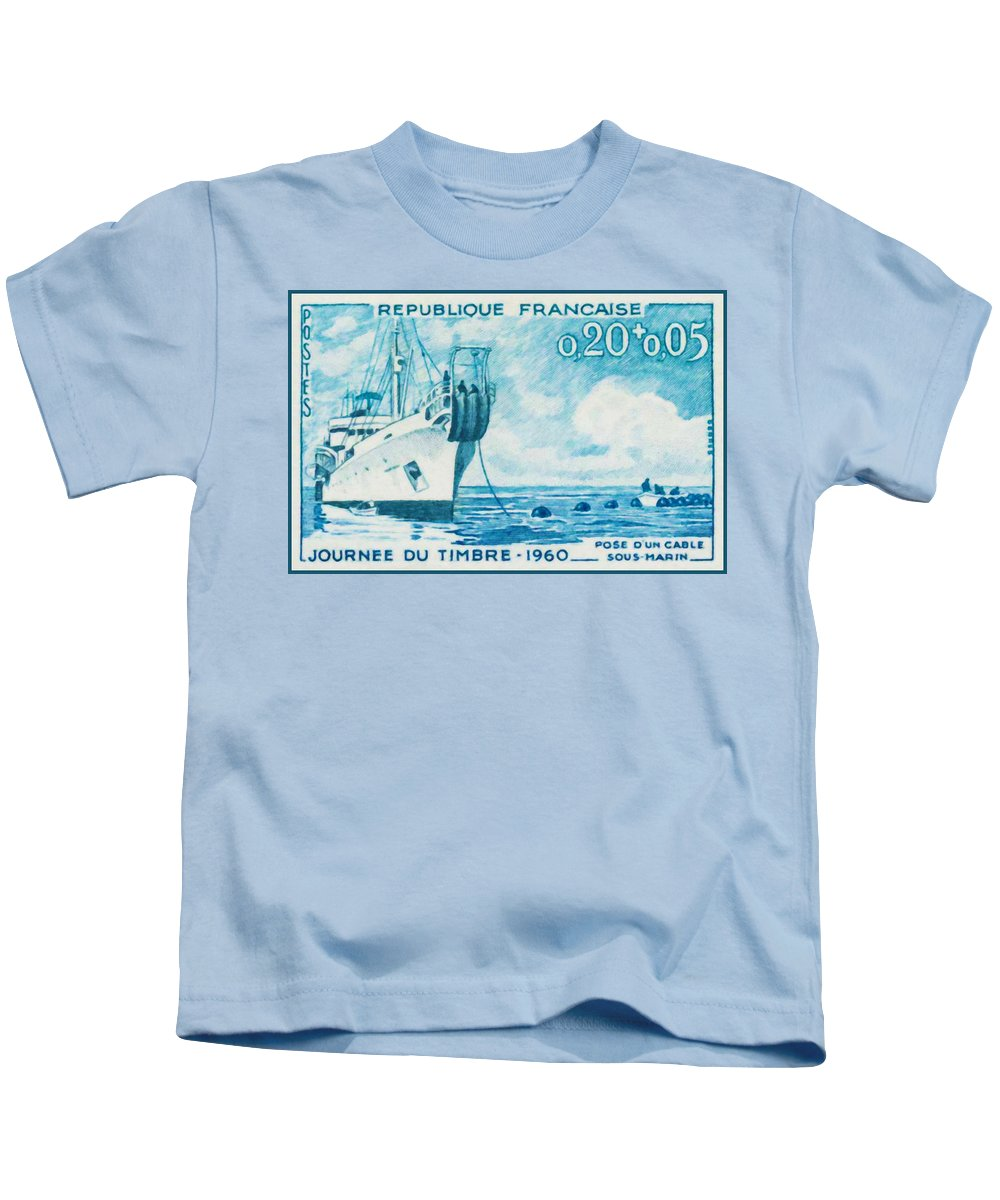 Philately - Day Festival Stamp - Cable Ship Amps - Underwater - Sea - Boat Kids T-Shirt featuring the painting 1960 Day Stamp Installation Of A Submarine Cable by Jeelan Clark