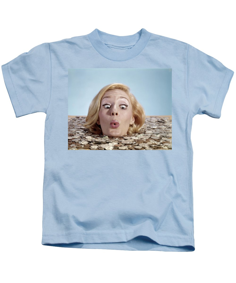 Photography Kids T-Shirt featuring the photograph 1960s Blond Woman Funny Facial by Vintage Images