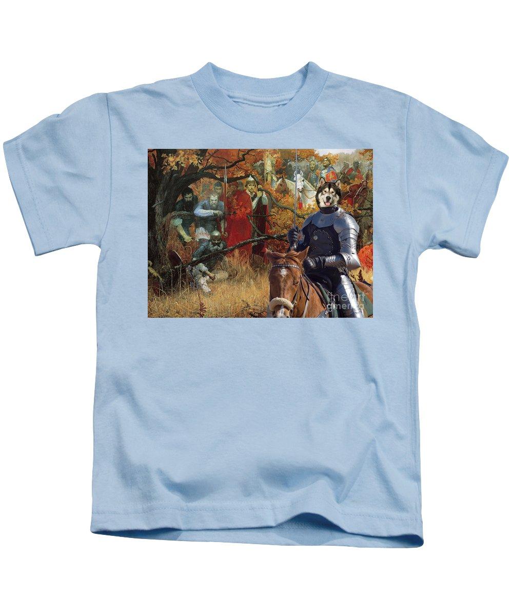 Alaskan Malamute Kids T-Shirt featuring the painting  Alaskan Malamute Art Canvas Print by Sandra Sij