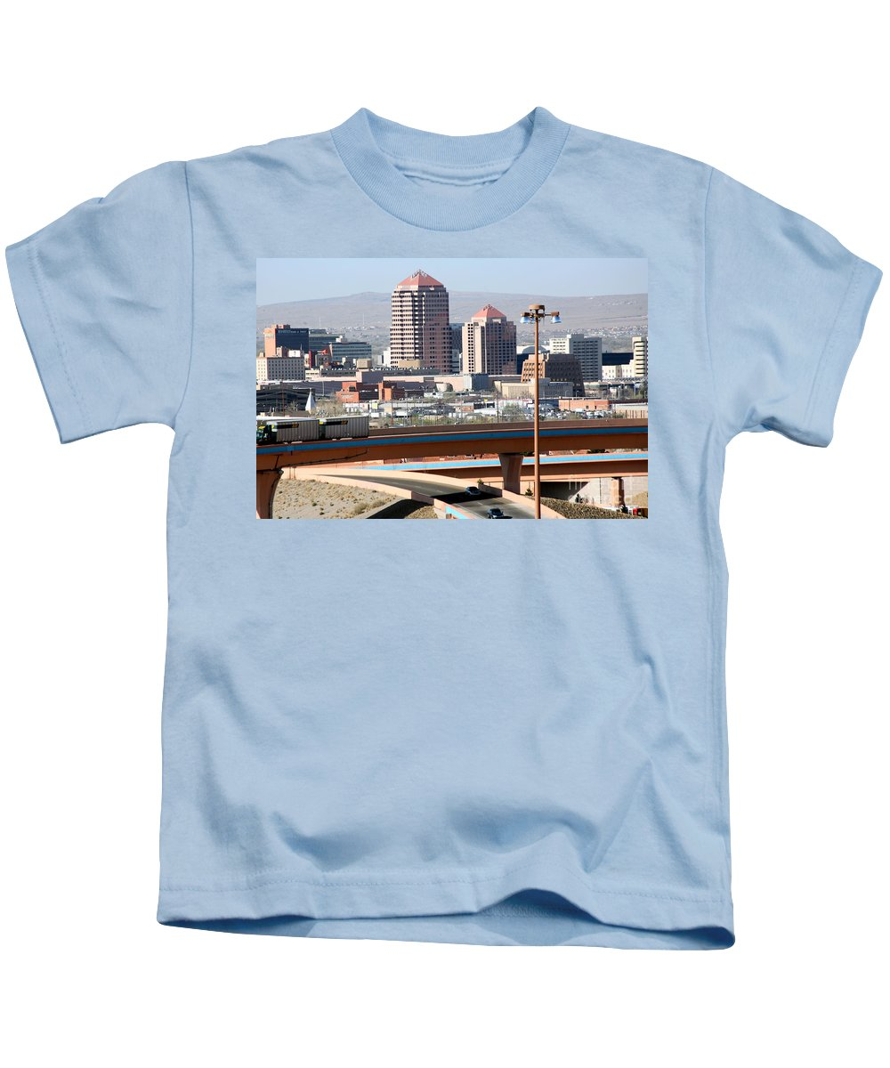 Aerial Kids T-Shirt featuring the photograph Albuquerque Skyline by Bill Cobb
