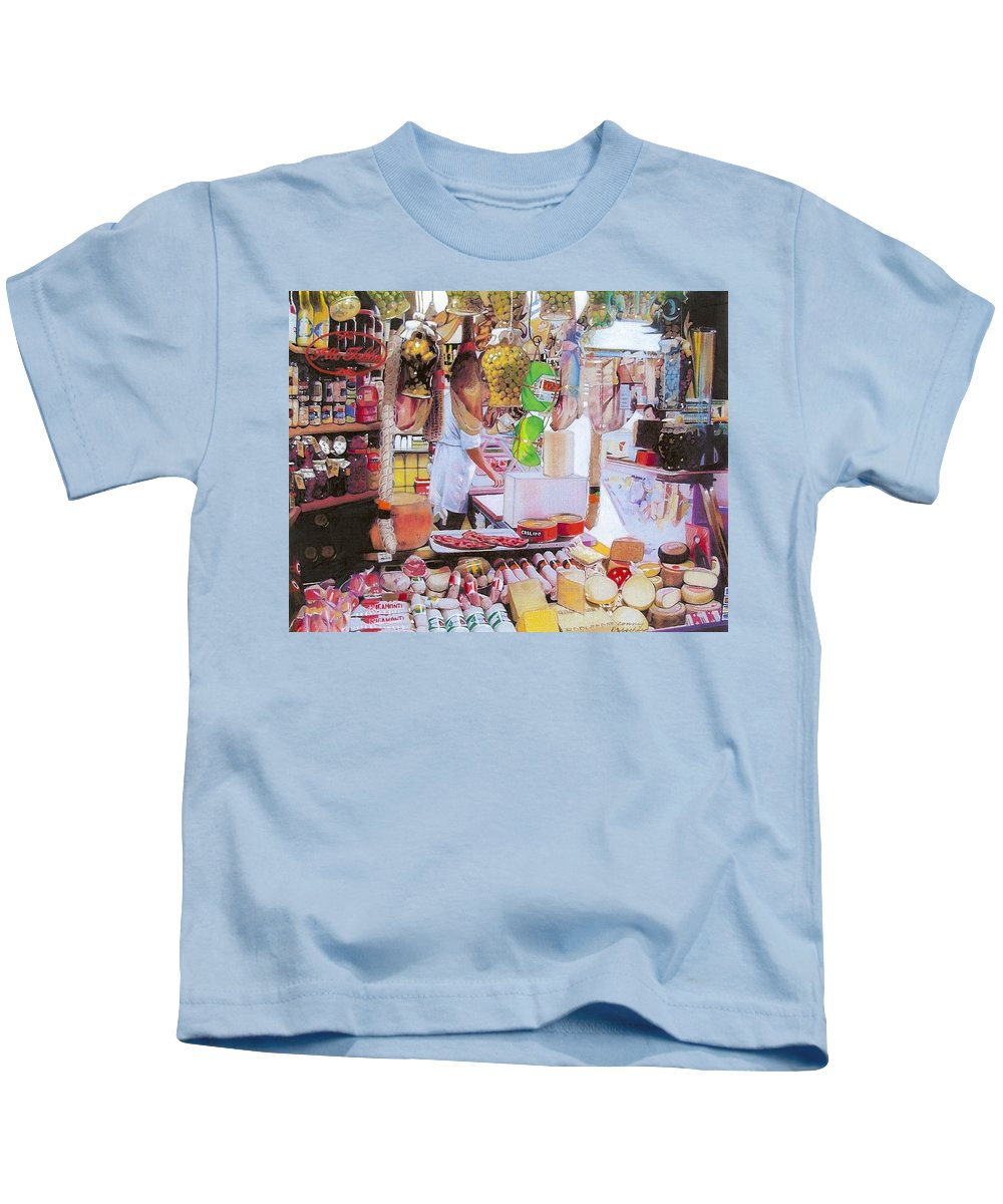 Food Kids T-Shirt featuring the mixed media Deli On The Via Condotti by Constance Drescher