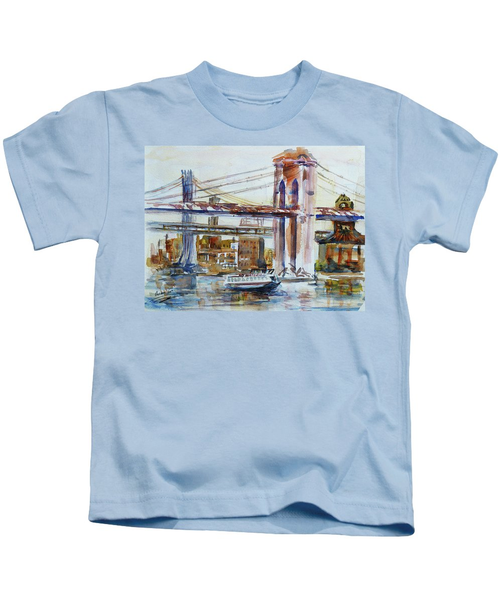 Brooklyn Kids T-Shirt featuring the painting Downtown Bridge by Xueling Zou