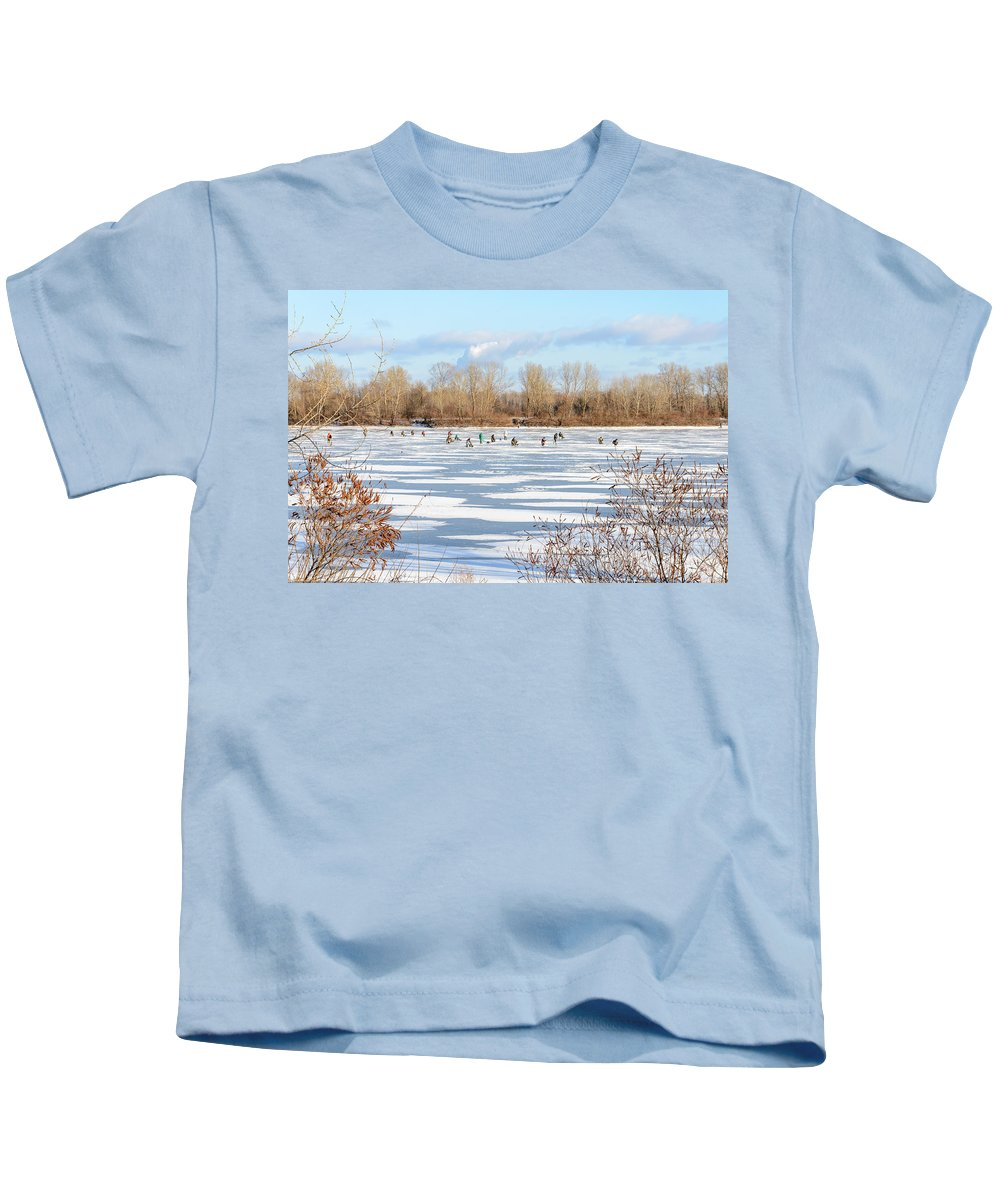 Dnieper Kids T-Shirt featuring the photograph Fishermen On The Frozen River by Alain De Maximy