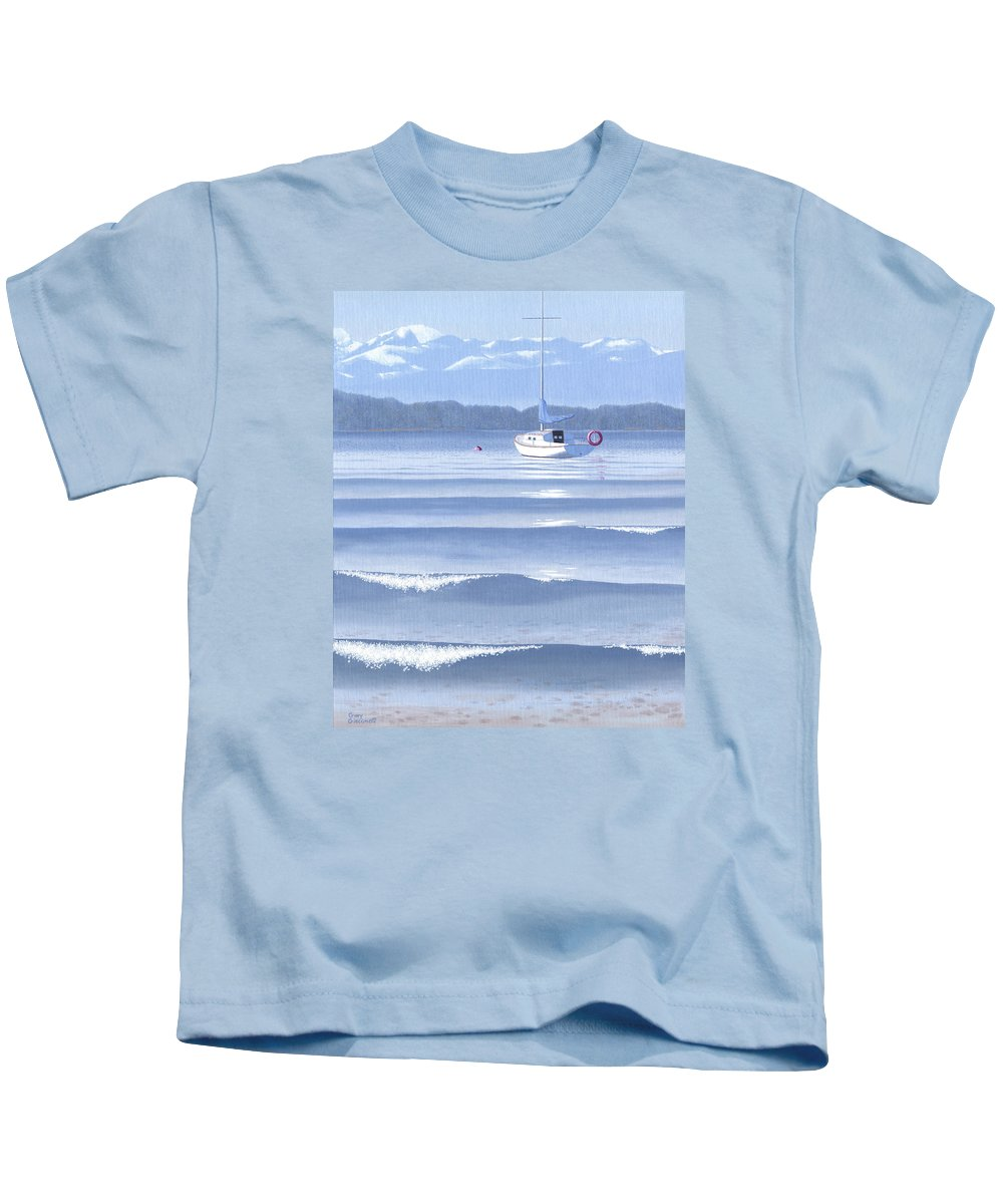 Sailboat Kids T-Shirt featuring the painting From the beach by Gary Giacomelli
