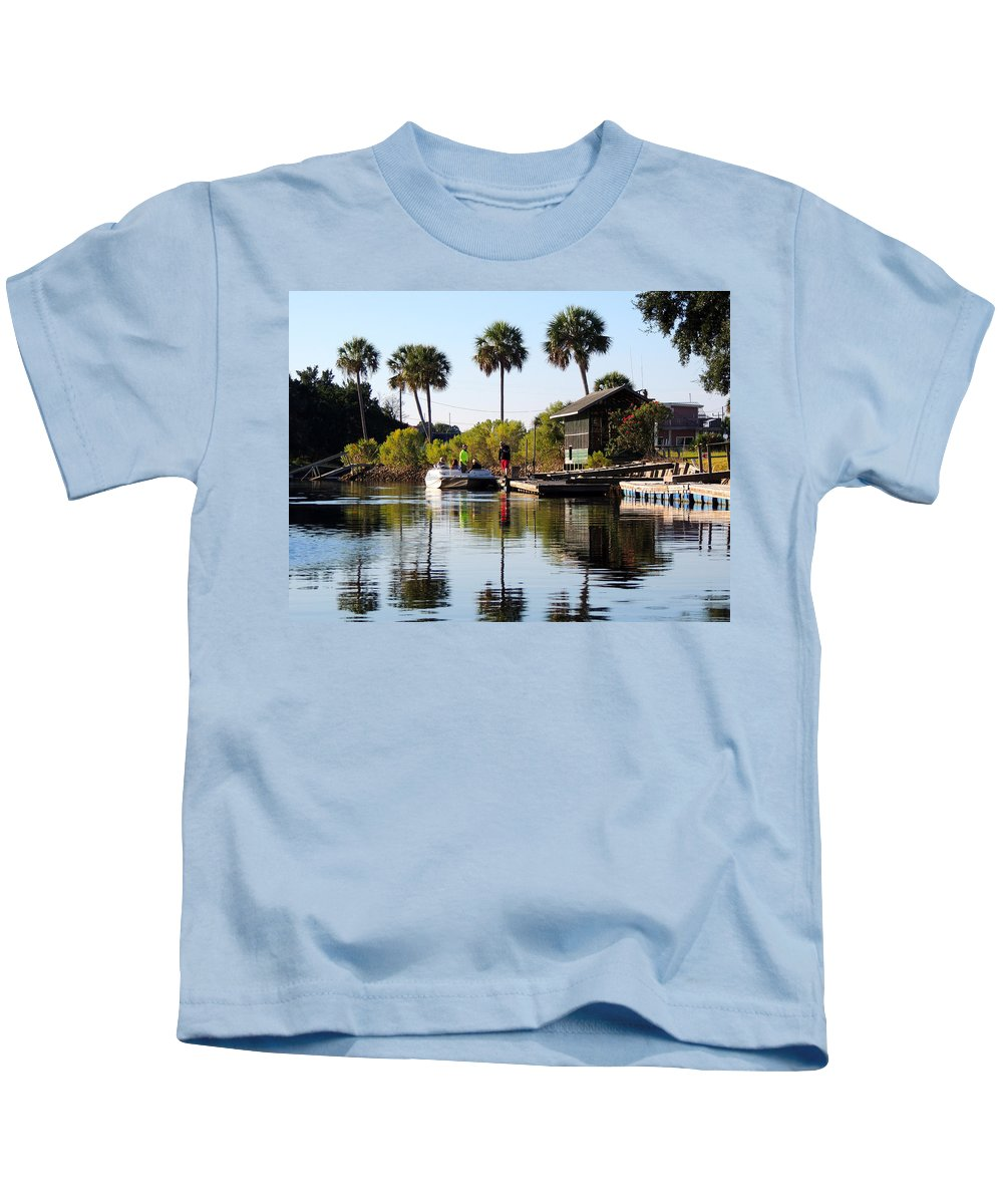 Photography Kids T-Shirt featuring the photograph Gone Fishing by Marilyn Holkham