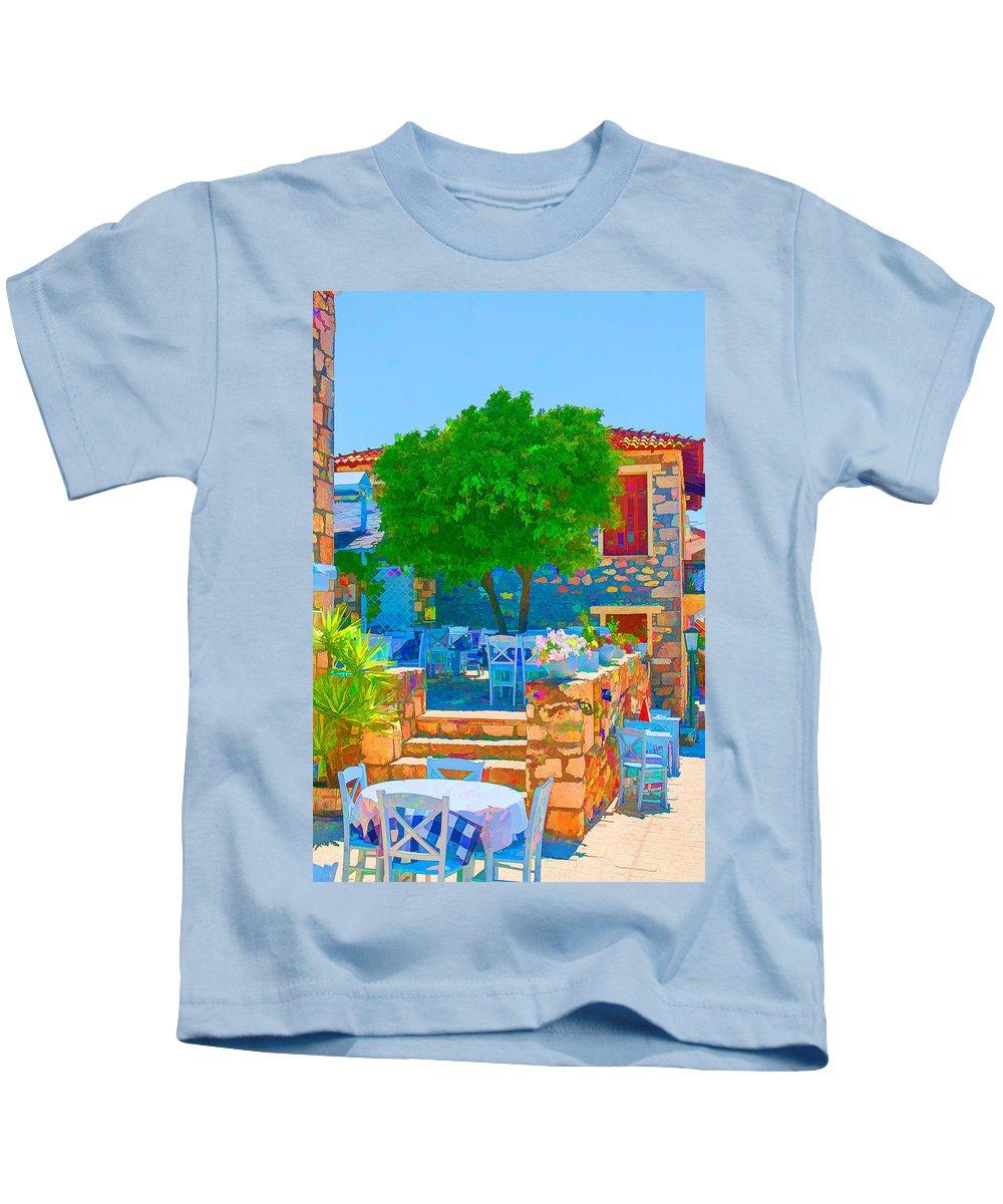 Greece Kids T-Shirt featuring the digital art Colourful Restaurant by Roy Pedersen