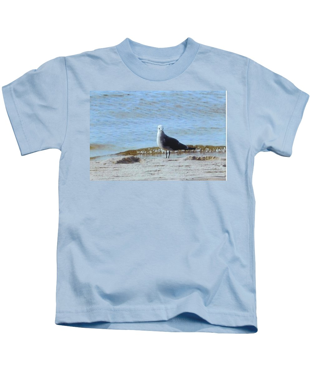 Standing In The Sand Kids T-Shirt featuring the photograph Seagull by Robert Floyd