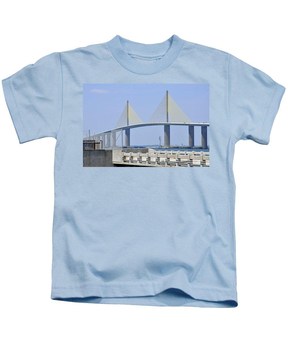 4.1 Kids T-Shirt featuring the photograph Sunshine Skyway Bridge I Tampa Bay Florida Usa by Sally Rockefeller