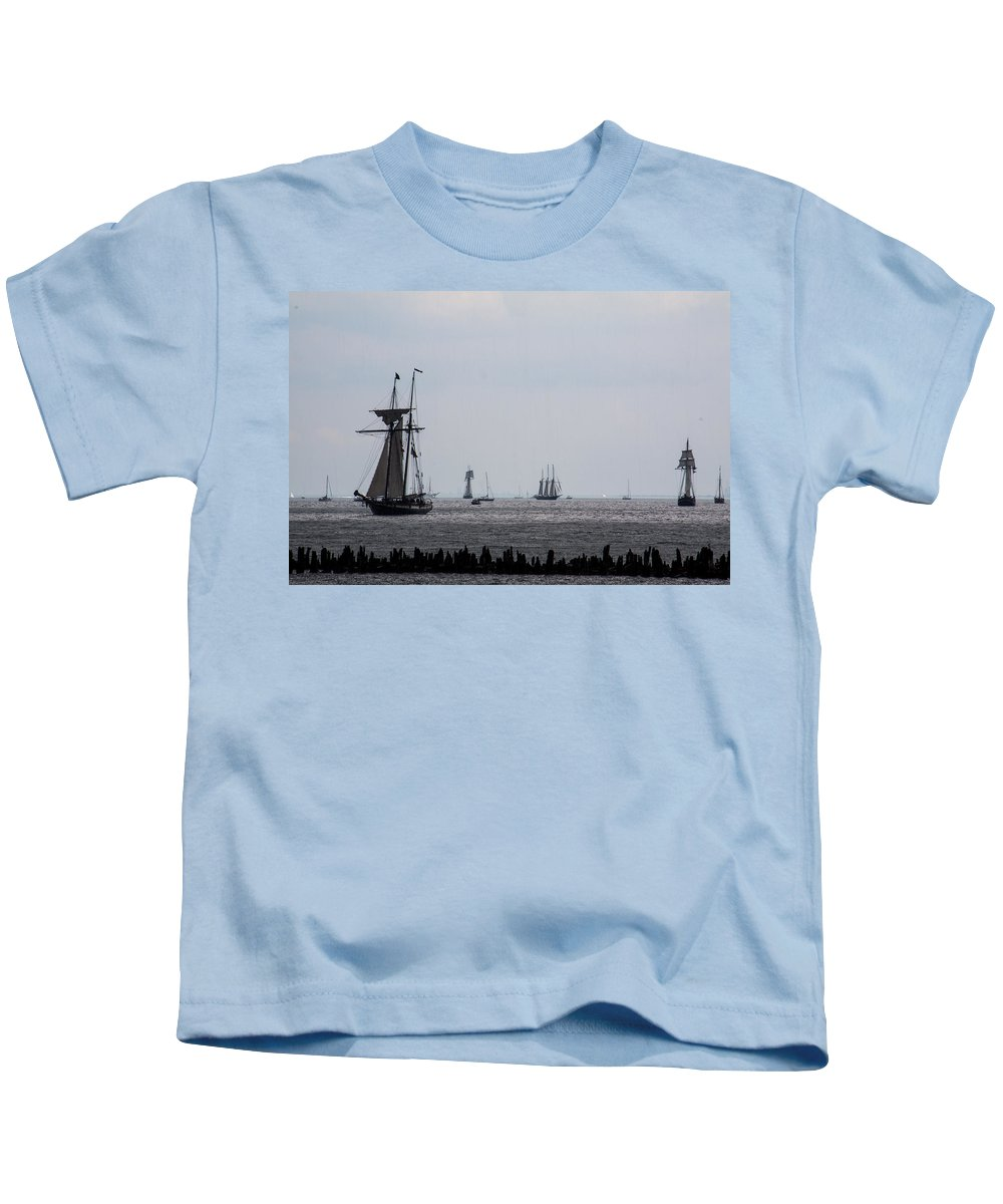 Kids T-Shirt featuring the photograph Tall Ships by Sue Conwell