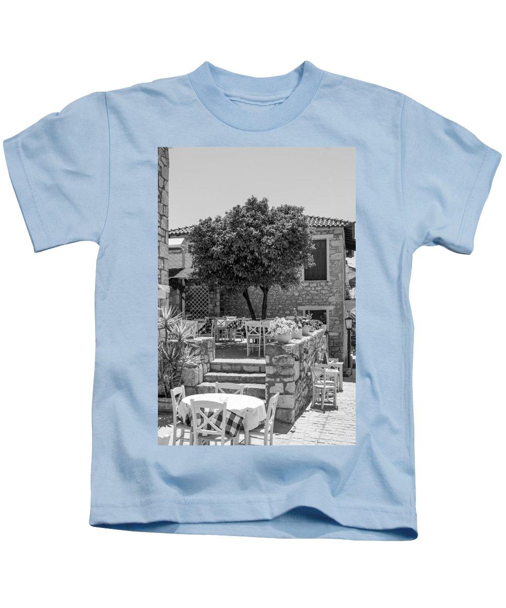 Greece Kids T-Shirt featuring the photograph Restaurant by Roy Pedersen
