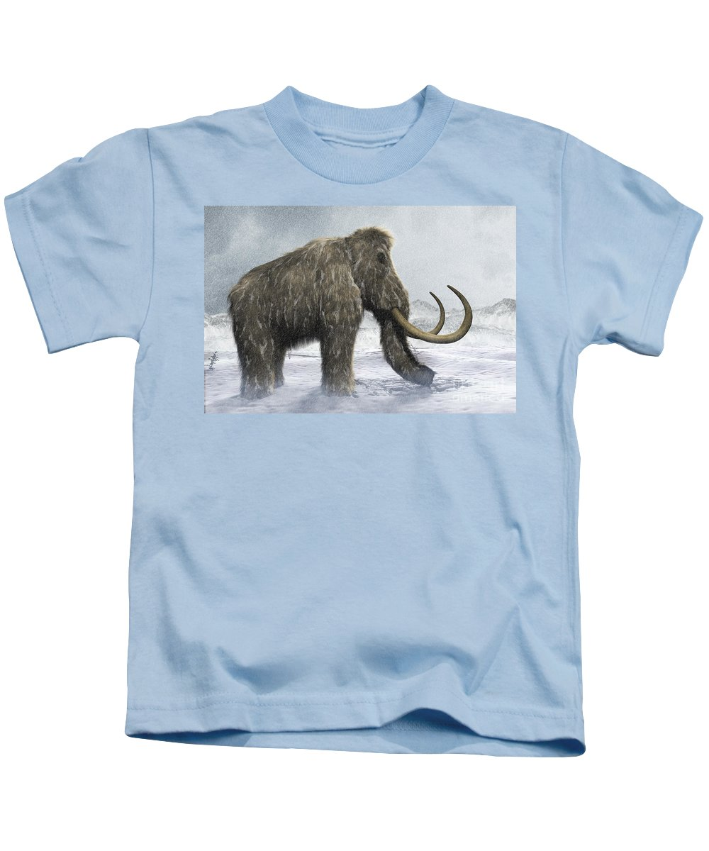 Full View Kids T-Shirt featuring the photograph Woolly Mammoth by Science Picture Co