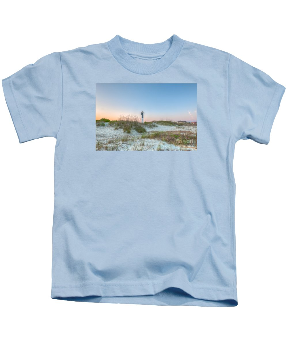 Sullivan's Island Lighthouse Kids T-Shirt featuring the photograph Sullivan's Island Dunes To Lighthouse View by Dale Powell