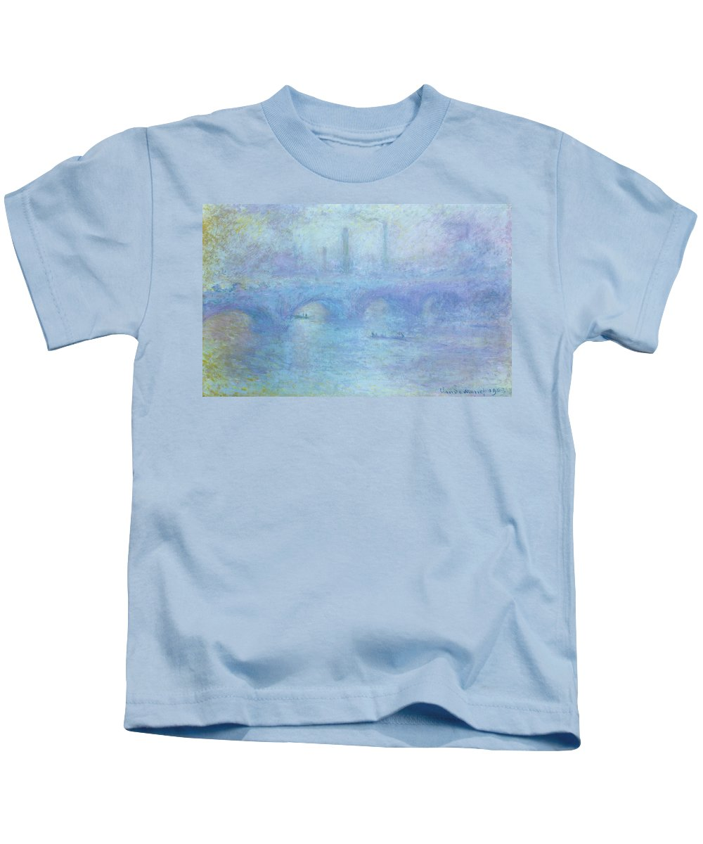 Foggy Kids T-Shirt featuring the painting Waterloo Bridge by Claude Monet