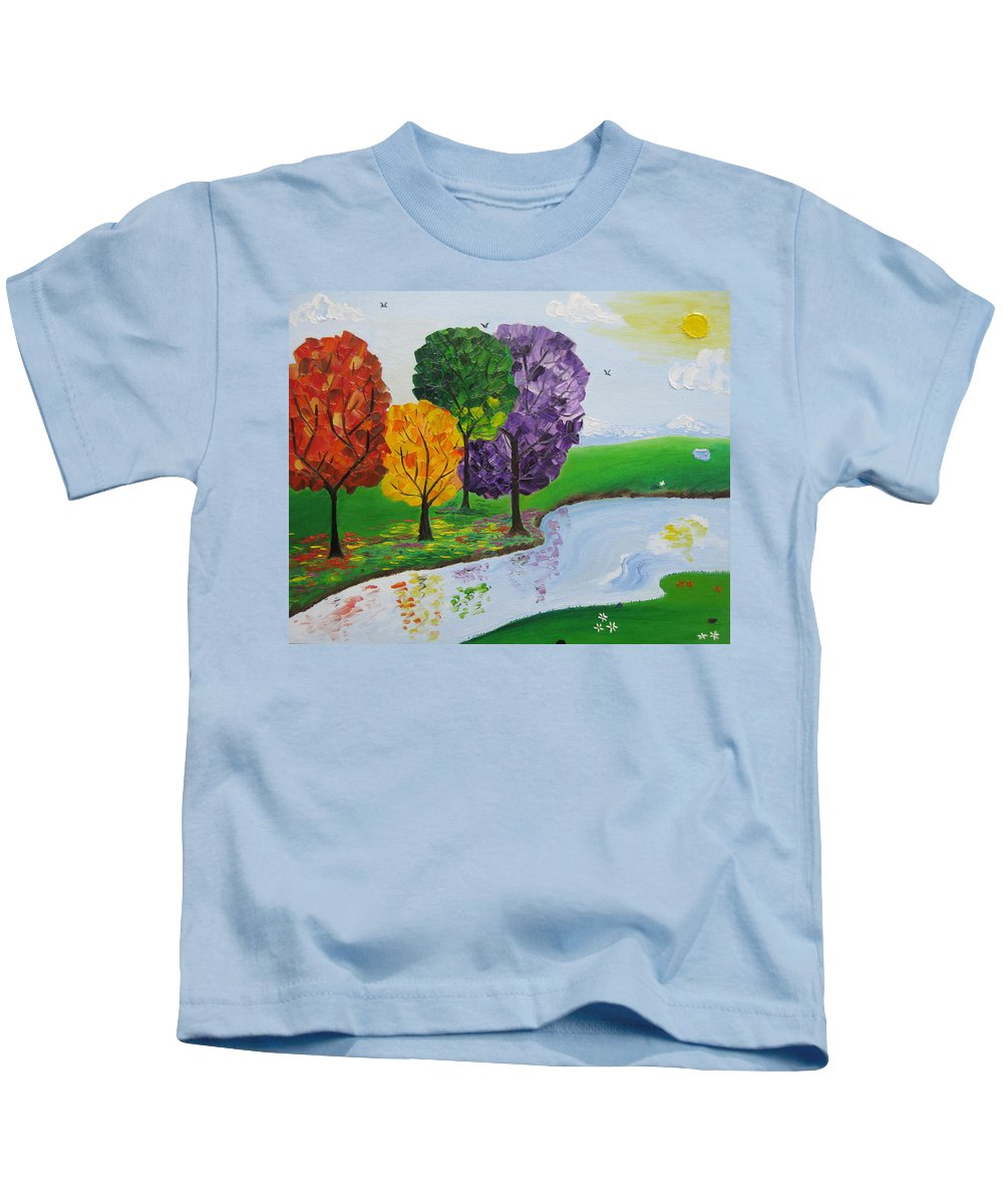 Landscape Kids T-Shirt featuring the painting Where There Is Quiet by Sayali Mahajan