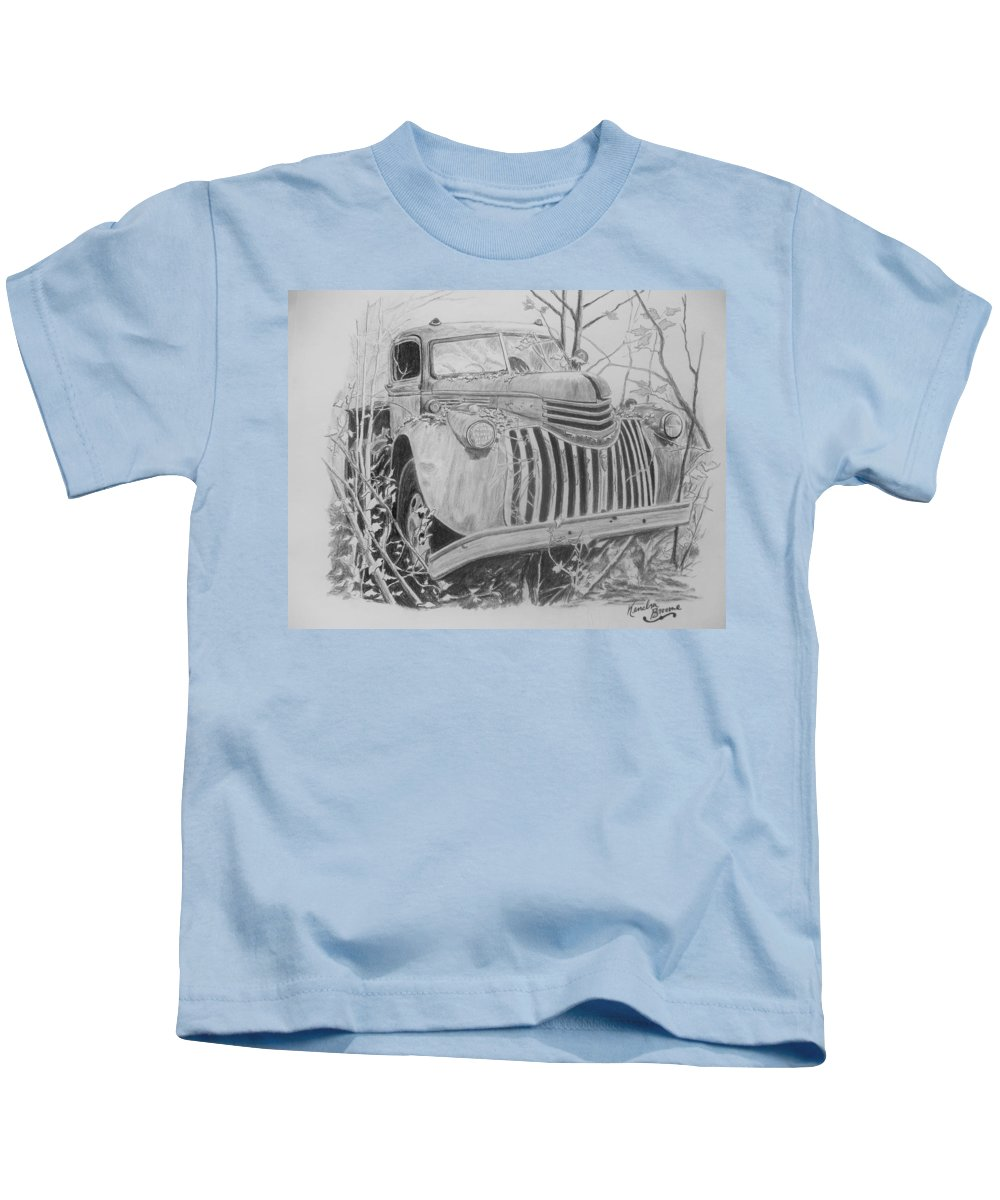 Chevy Truck Kids T-Shirt featuring the drawing 46 Chevy Treasure by Kendra DeBerry