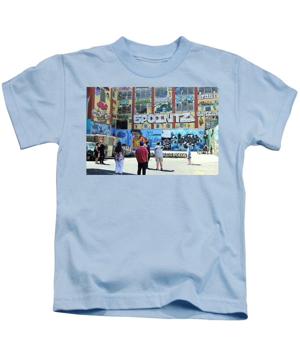 Art Kids T-Shirt featuring the photograph 5 Pointz Graffiti Art 3 by Allen Beatty