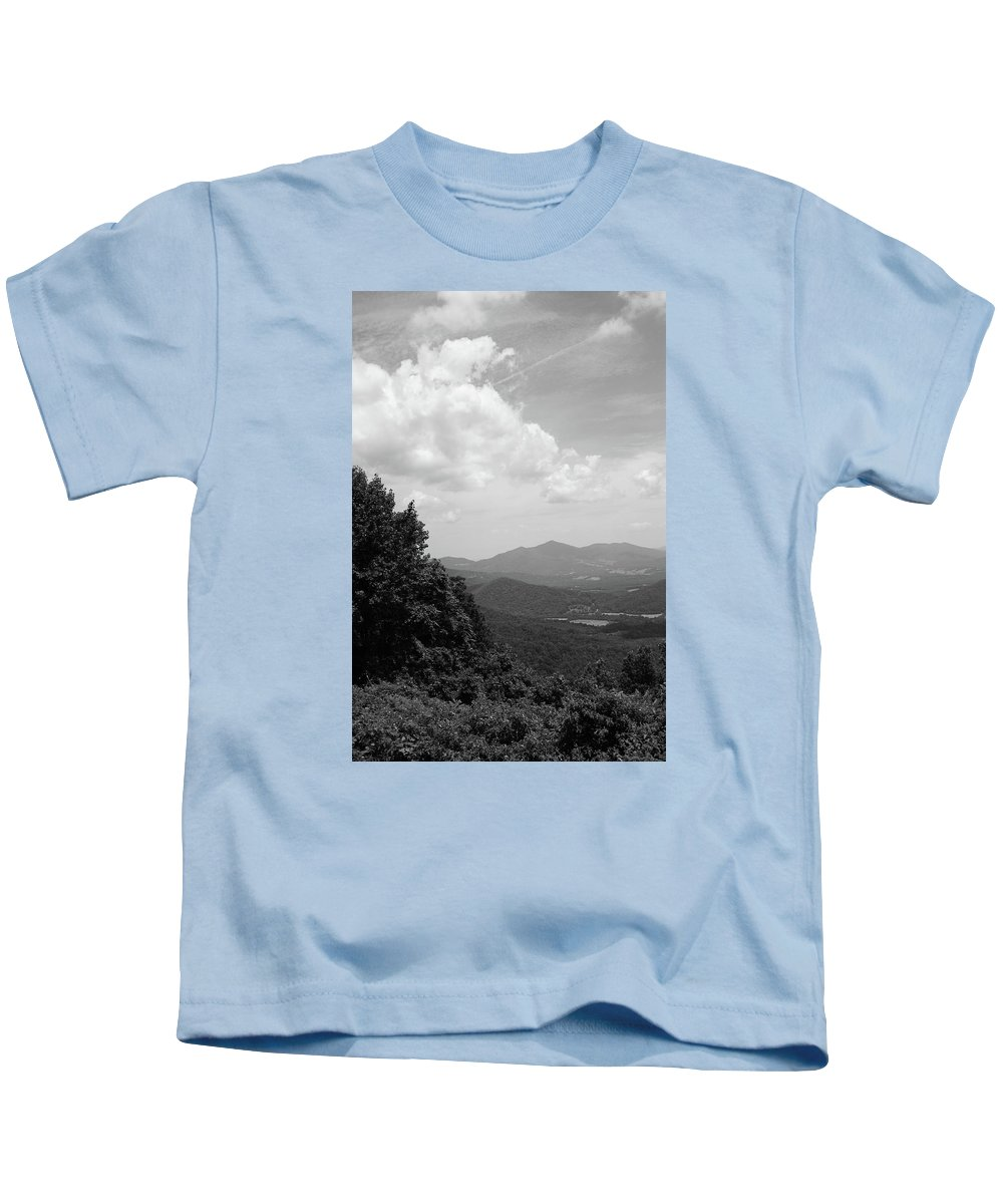 America Kids T-Shirt featuring the photograph Blue Ridge Mountains - Virginia Bw 3 by Frank Romeo