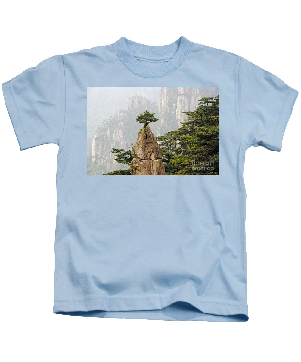 Asia Kids T-Shirt featuring the photograph Chinese White Pine On Mt. Huangshan by John Shaw