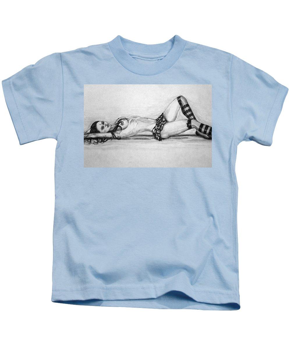 Model Kids T-Shirt featuring the drawing Model by Alban Dizdari