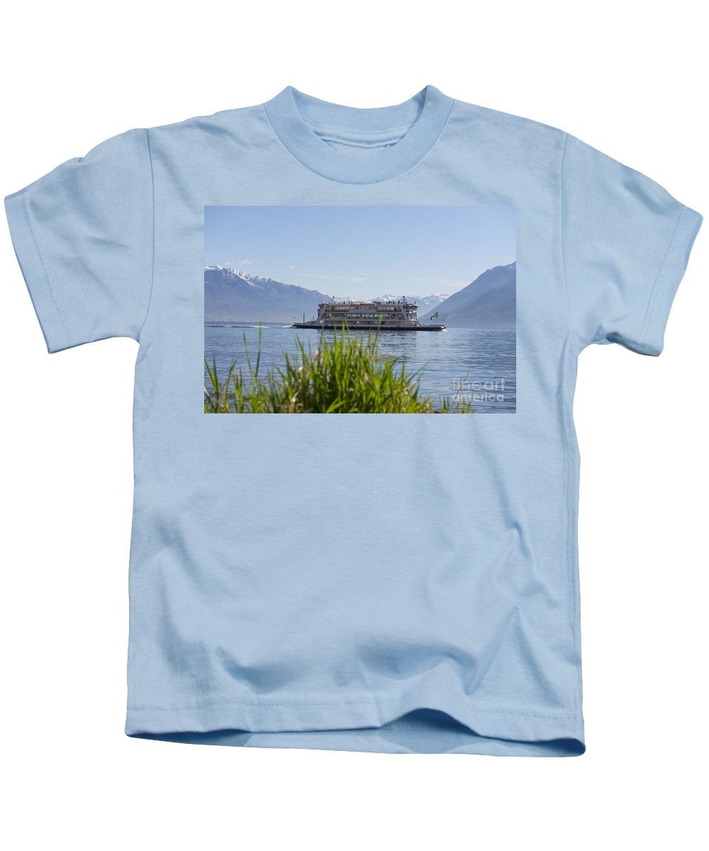 Passenger Ship Kids T-Shirt featuring the photograph Passenger Ship On An Alpine Lake by Mats Silvan