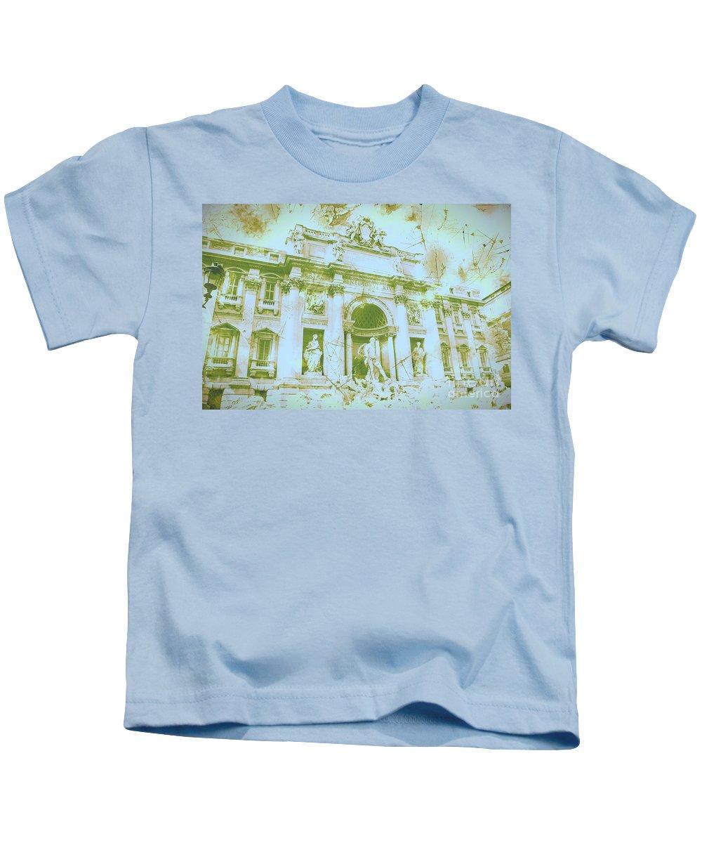 Trevi Fountain Kids T-Shirt featuring the digital art Trevi Fountain Landscape by Marina McLain
