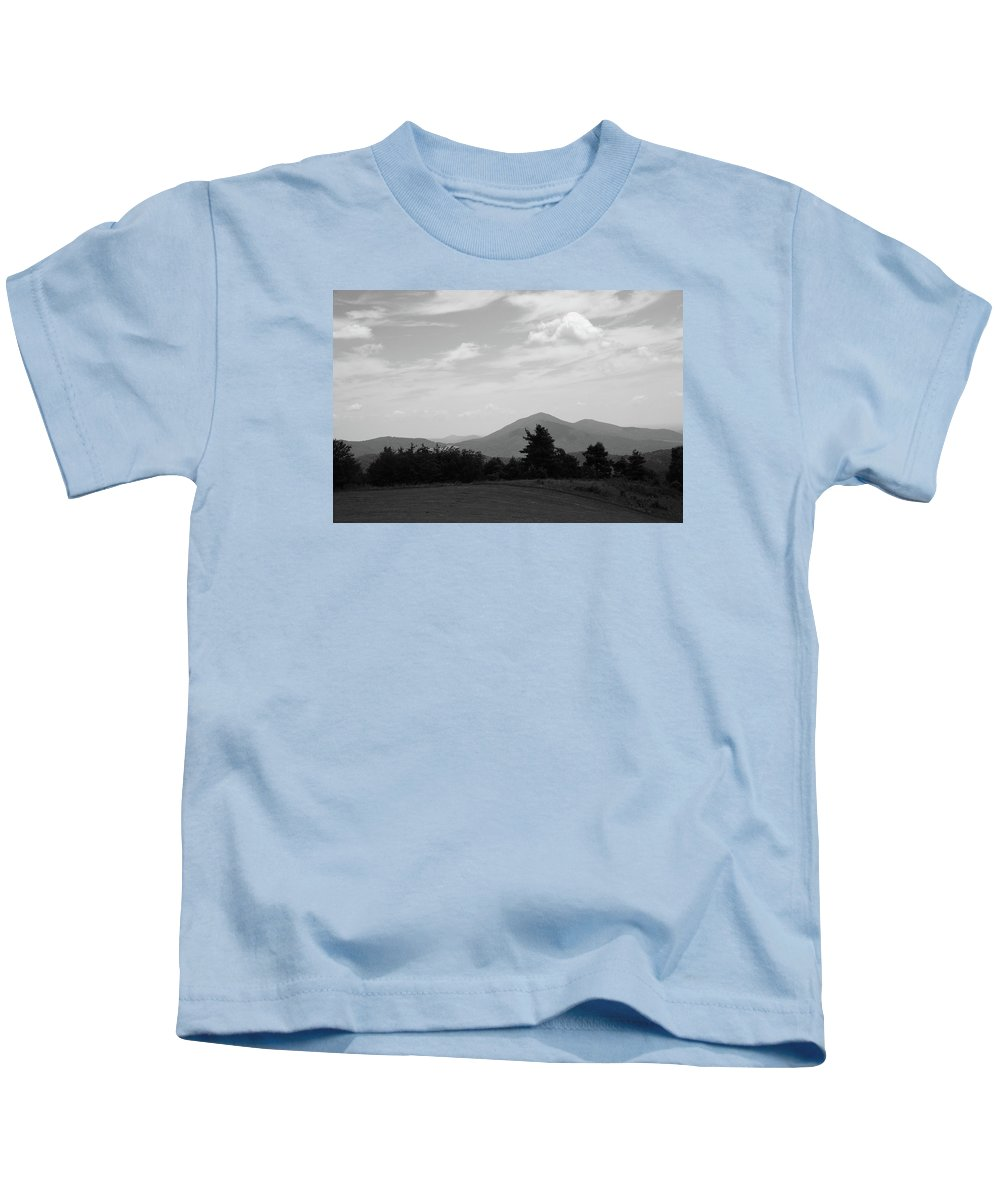 America Kids T-Shirt featuring the photograph Blue Ridge Mountains - Virginia Bw 7 by Frank Romeo