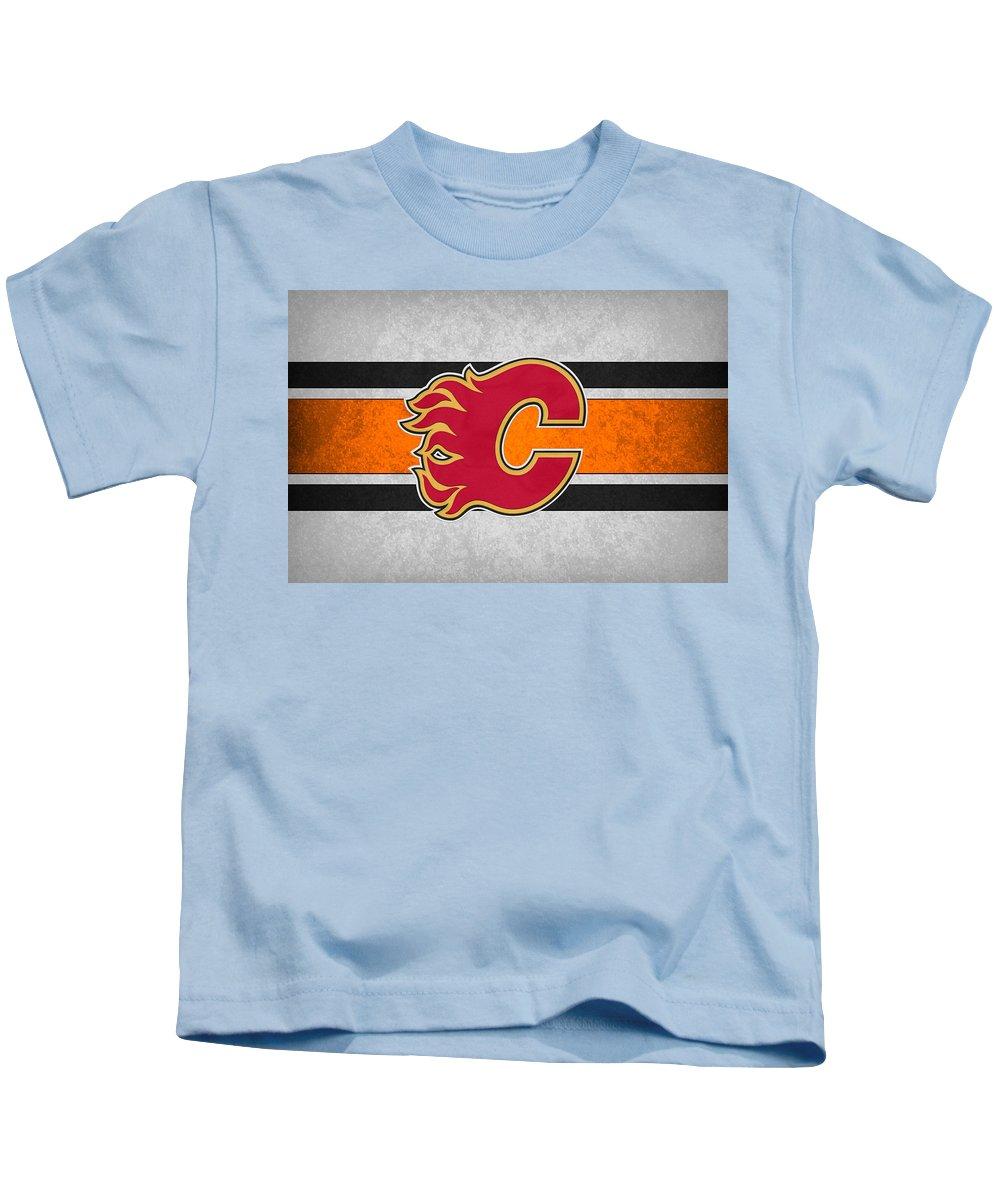 Flames.calgary Kids T-Shirt featuring the photograph Calgary Flames by Joe Hamilton