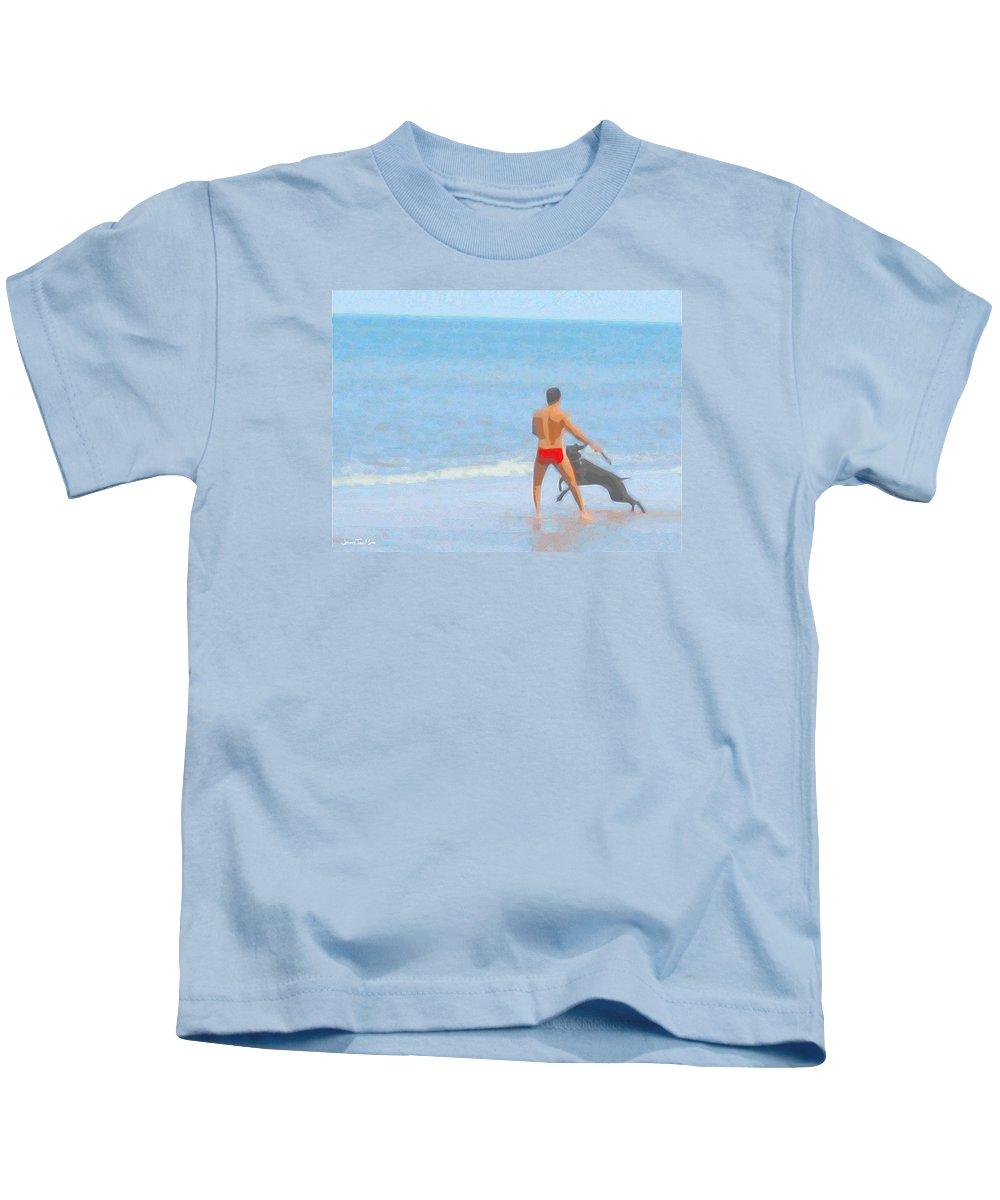 Male Kids T-Shirt featuring the photograph A Boy And His Dog 2 by Jeffrey Todd Moore
