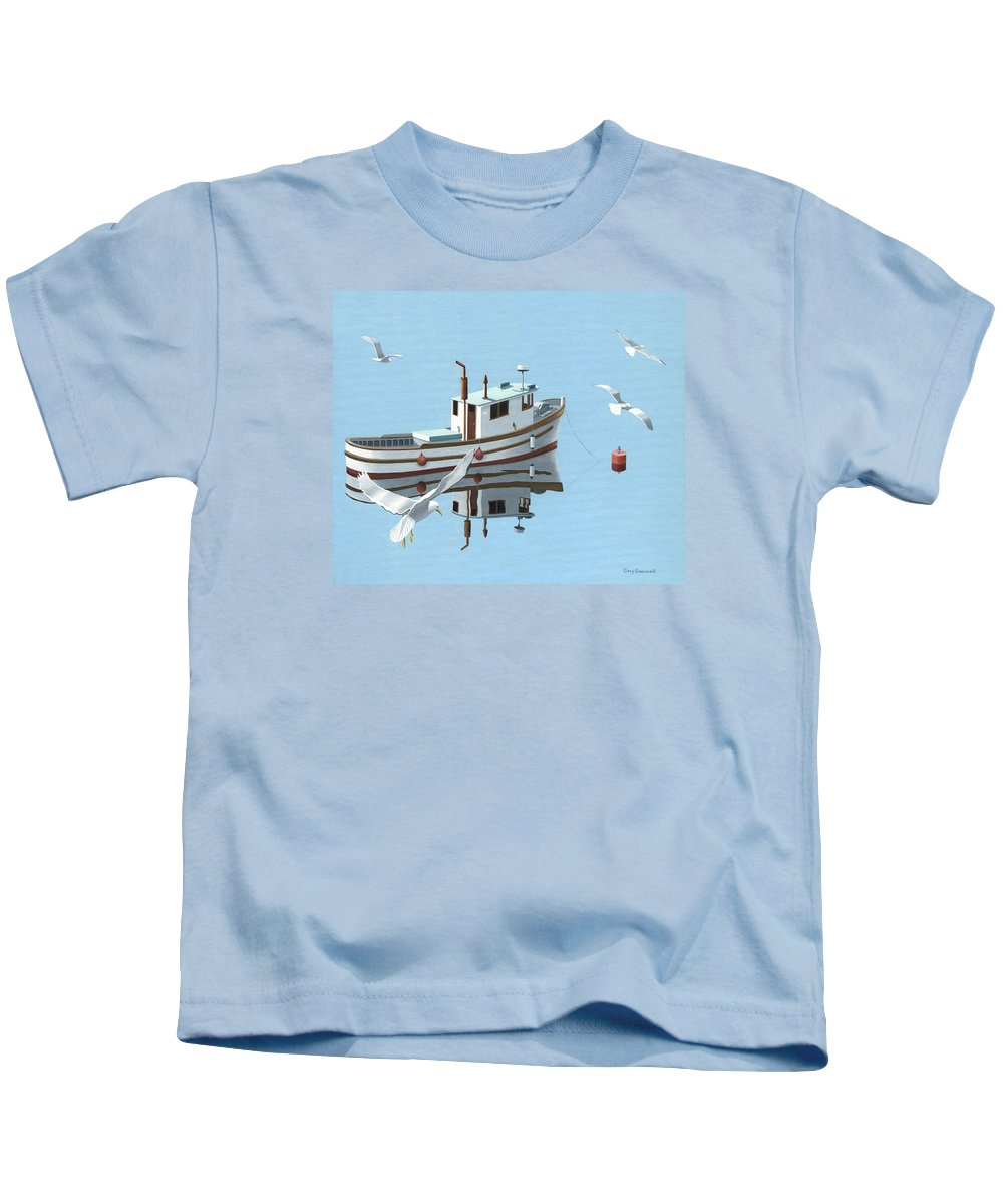 Boat Kids T-Shirt featuring the painting A Contemplation Of Seagulls by Gary Giacomelli