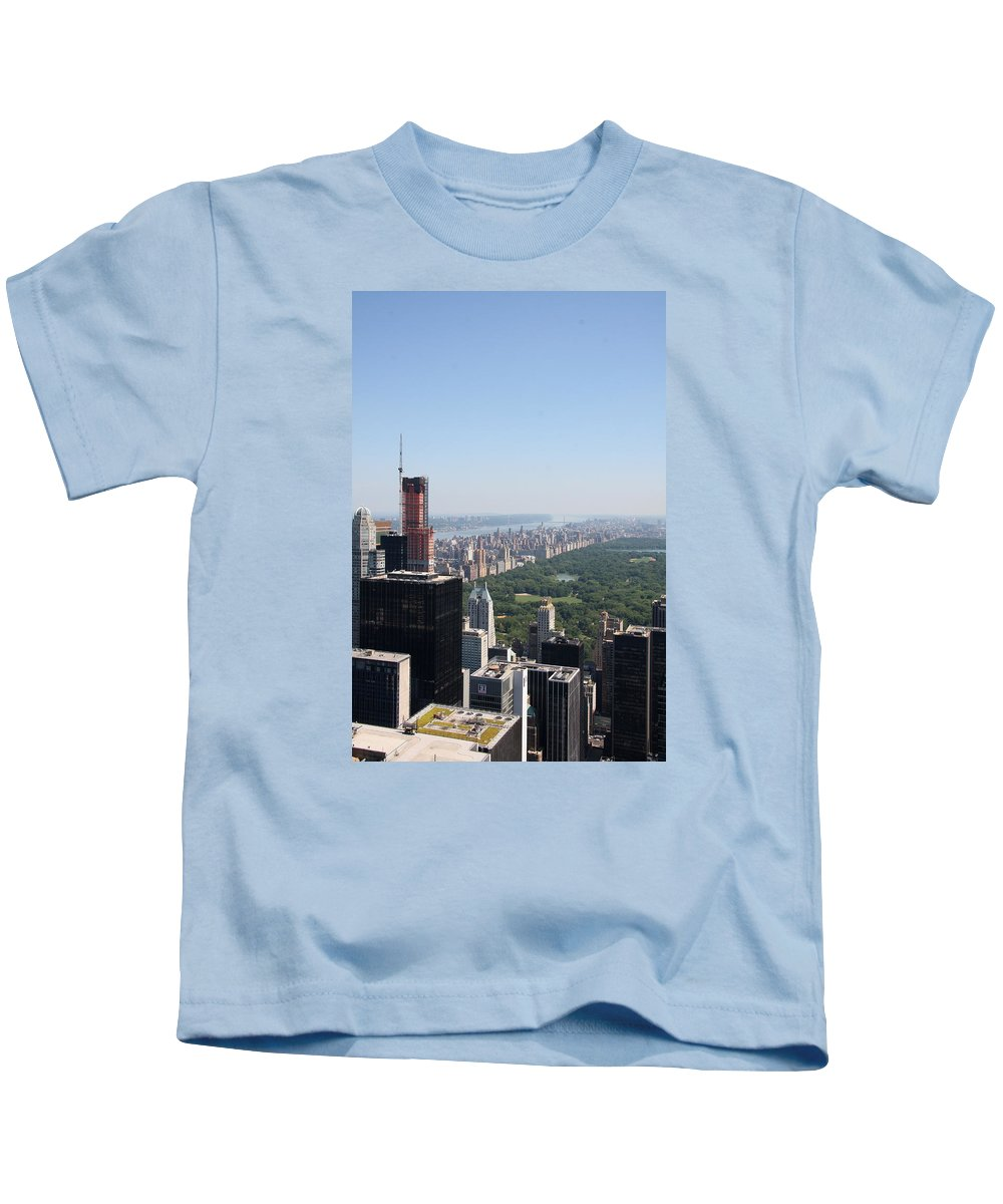 Skyscape Kids T-Shirt featuring the photograph A New Skyscraper In Nyc Skyline by Christiane Schulze Art And Photography