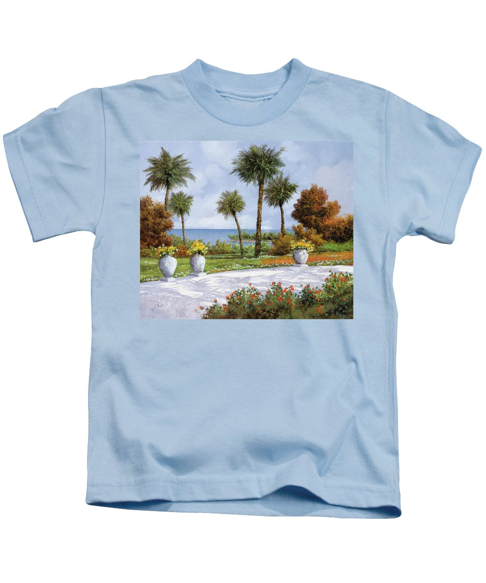 Palm Kids T-Shirt featuring the painting A Spasso Tra Le Palme by Guido Borelli