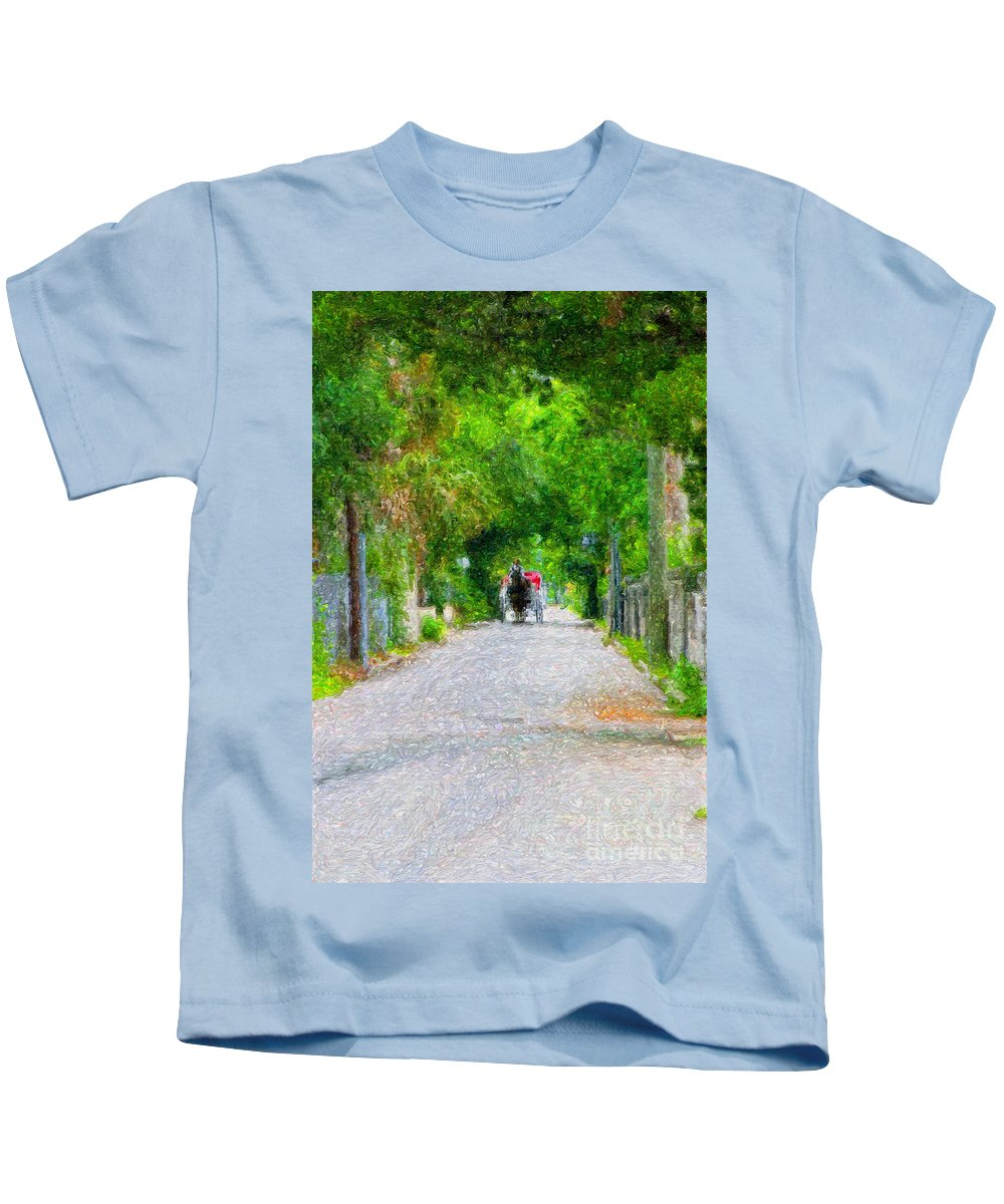 Tranquil Scene Kids T-Shirt featuring the digital art A Trip Down Memory Lane by Diane Macdonald