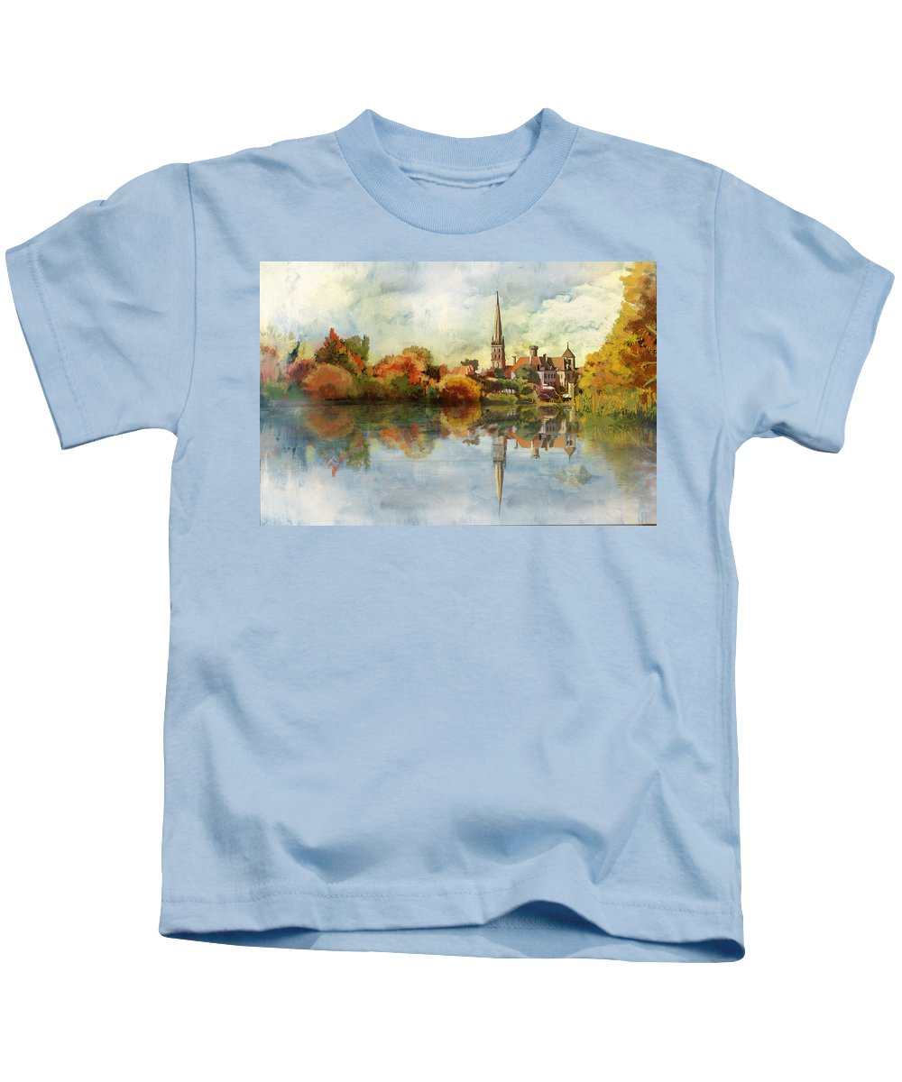 Western Ghats Kids T-Shirt featuring the painting Abbey Church Of Saint Savin Sur Gartempe by Catf