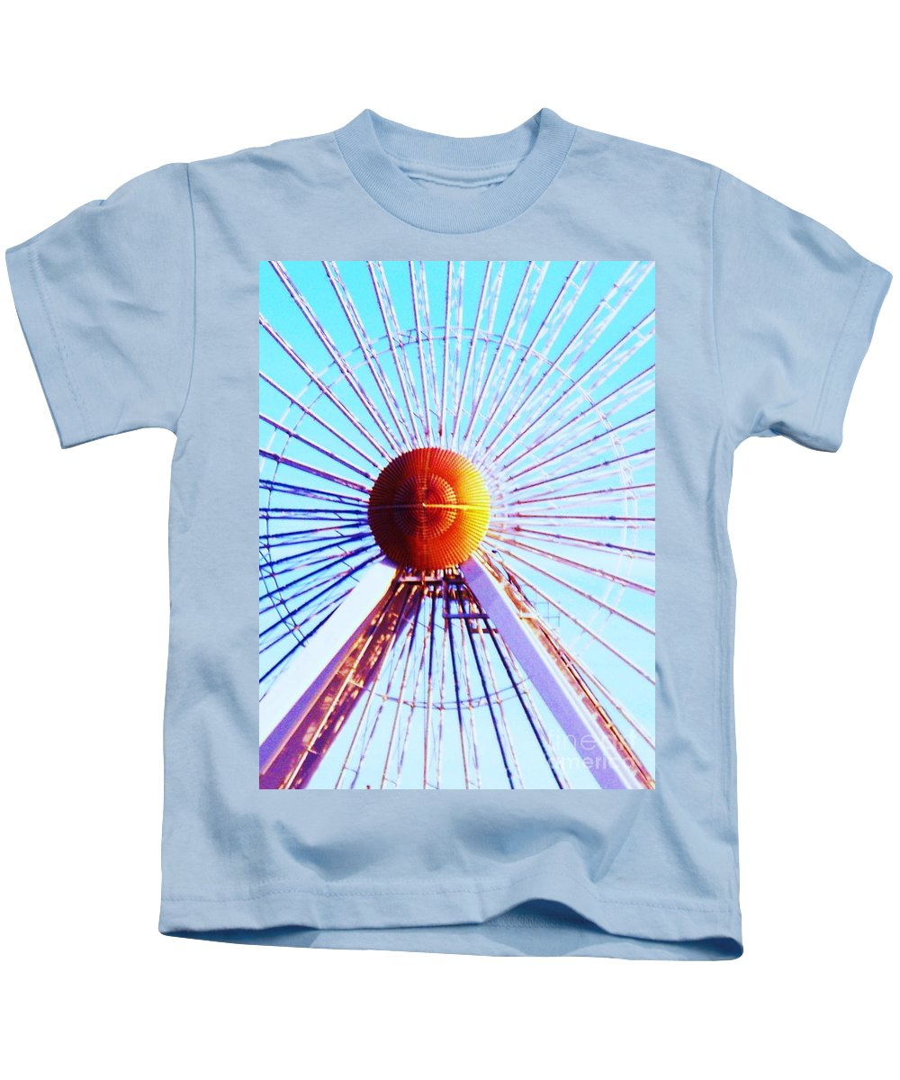 Abstract Kids T-Shirt featuring the painting Abstract Ferris Wheel by Eric Schiabor