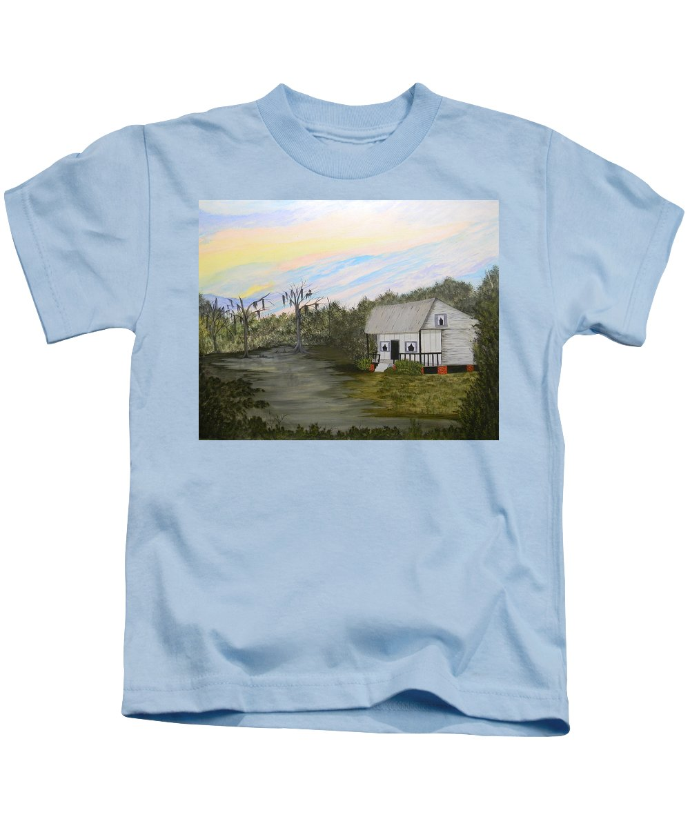 Acadian Kids T-Shirt featuring the painting Acadian Home On The Bayou by Bertie Edwards