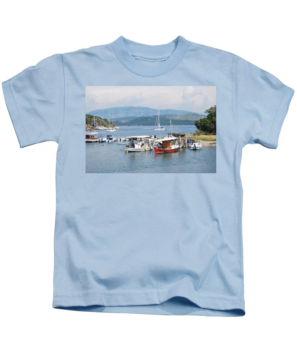 Agios Stefanos Kids T-Shirt featuring the photograph Agios Stefanos by George Katechis