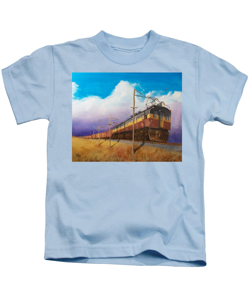 Electric Locomotive Kids T-Shirt featuring the painting Ahead Of The Weather by Christopher Jenkins