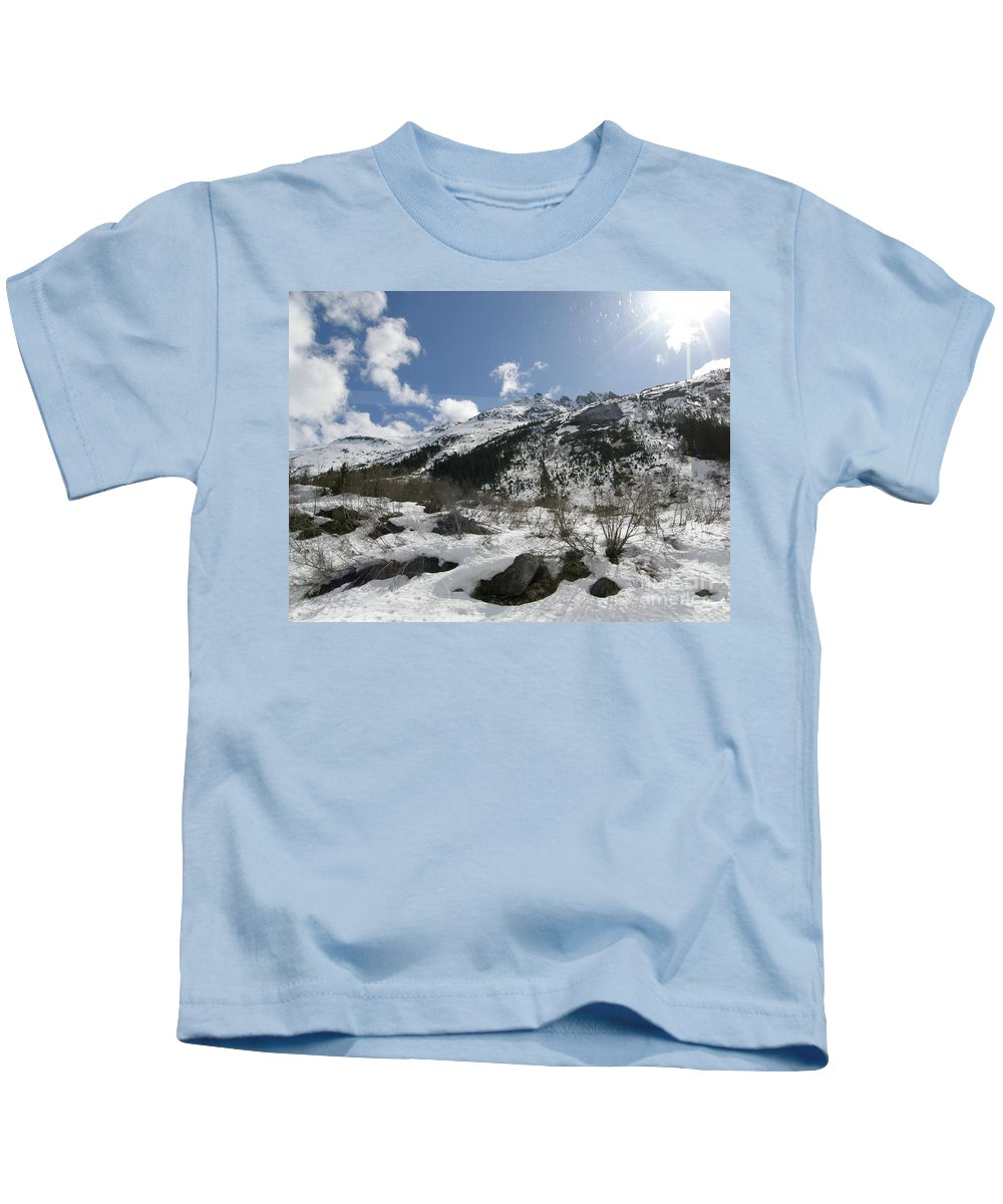Rugged Kids T-Shirt featuring the photograph Alaskan Mountain by Bev Conover