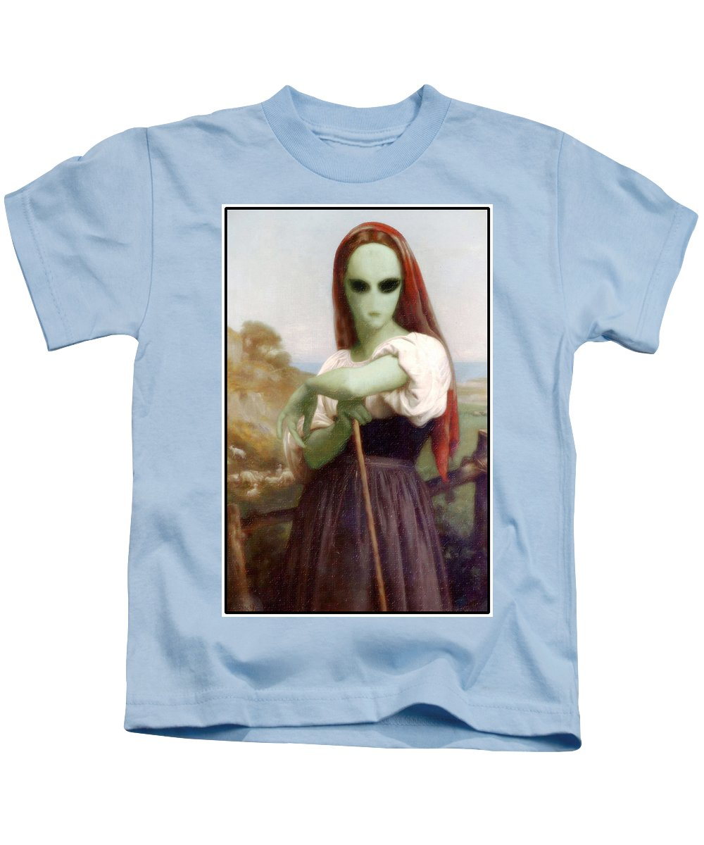 Bouguereau Kids T-Shirt featuring the painting Alien Shepherdess by Gravityx9 Designs