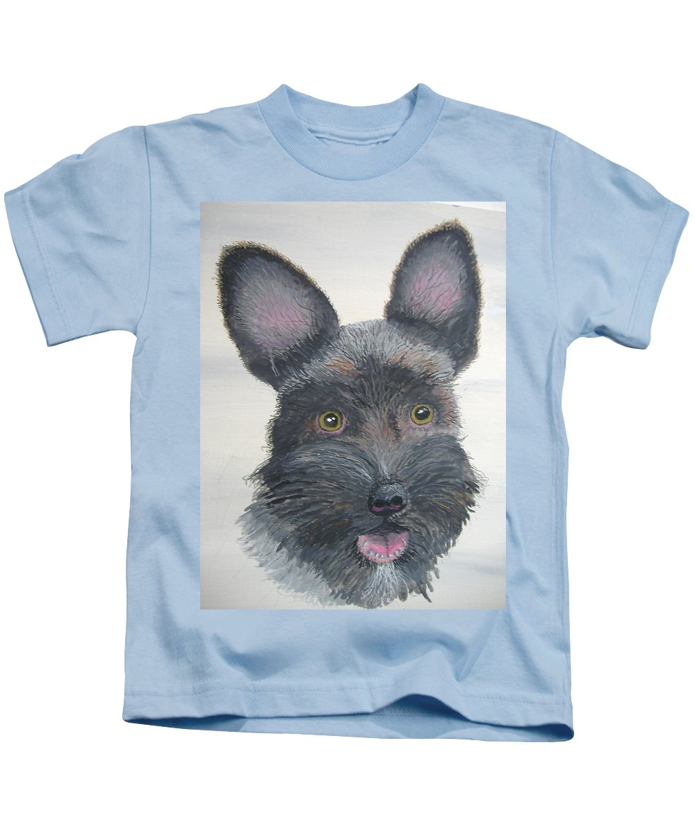 Schnauzer Kids T-Shirt featuring the painting All For Love by Norm Starks
