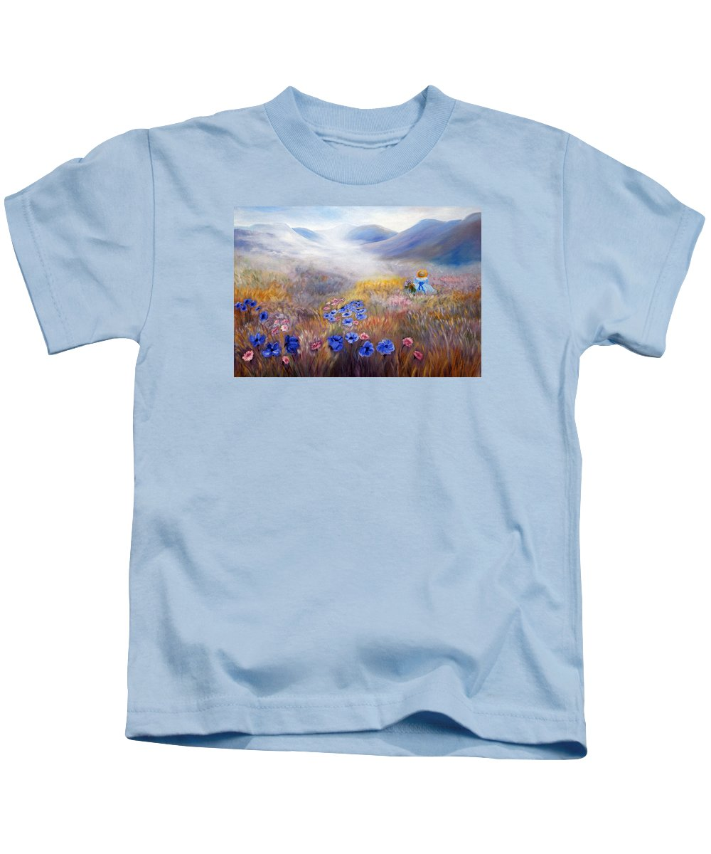 Field Kids T-Shirt featuring the painting All In A Dream - Impressionism by Georgiana Romanovna