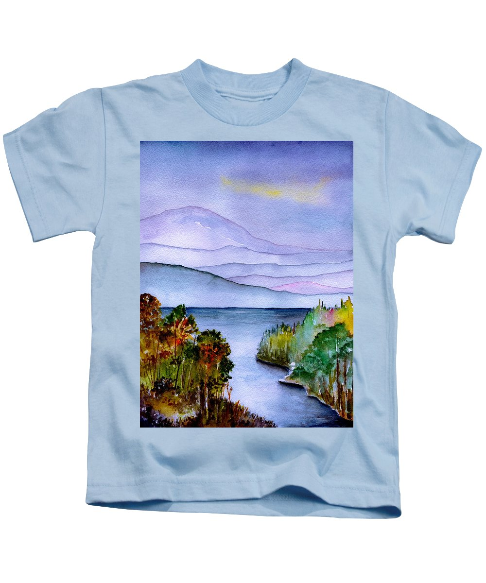 Landscape Kids T-Shirt featuring the painting Almost Autumn by Brenda Owen