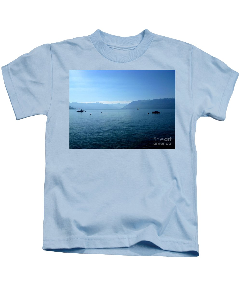 Photography Kids T-Shirt featuring the photograph Alps And Leman Lake by Cristina Stefan