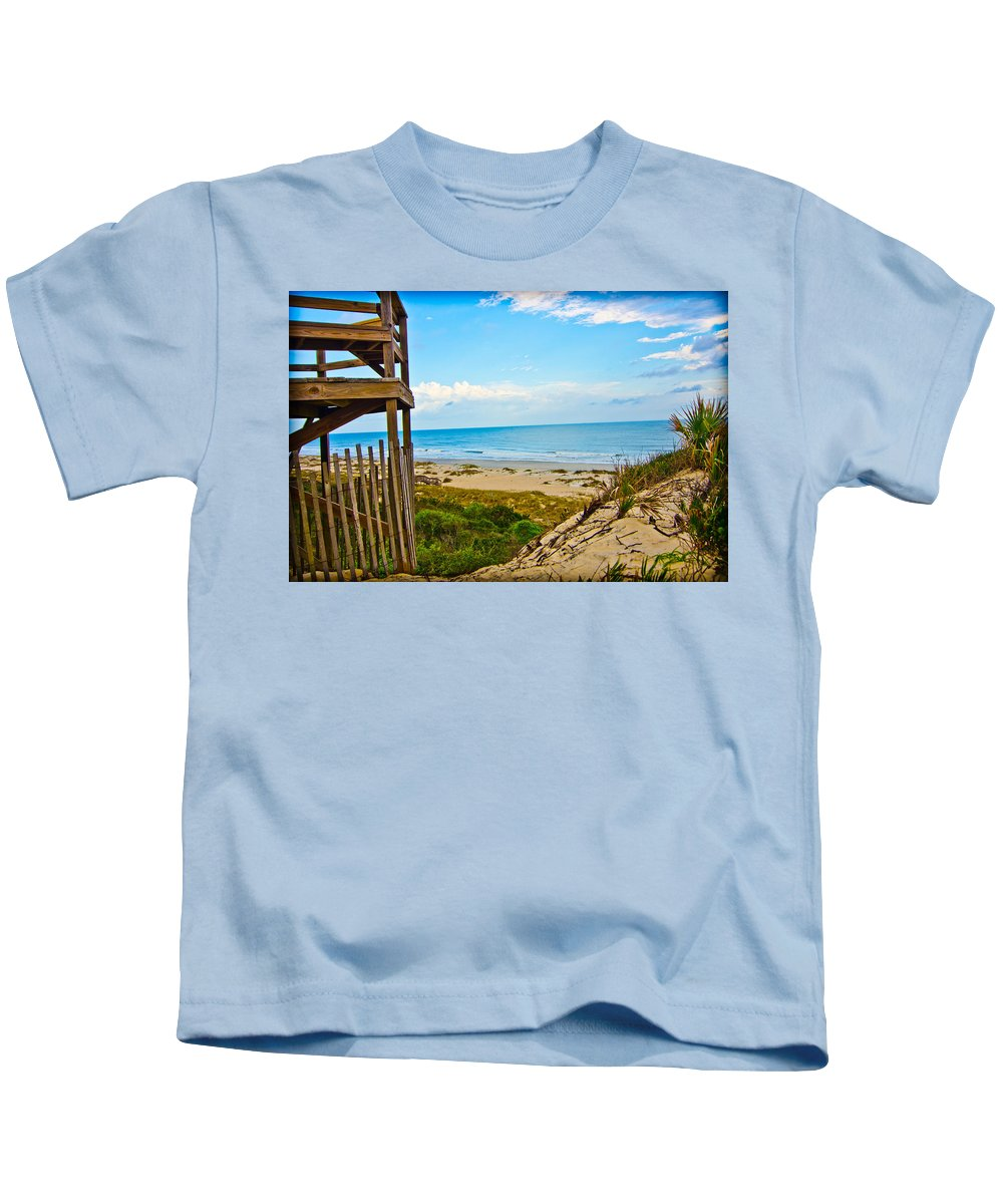 Blue Kids T-Shirt featuring the pyrography Amelia In Blue by Shirley Tinkham