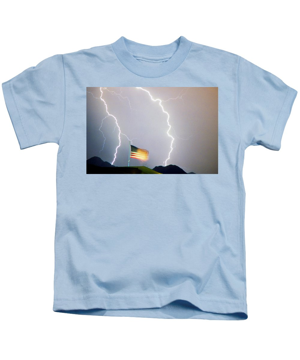 Lightning; Lightening; American Flag; Usa; Americana; Storm; Weather; Nature Kids T-Shirt featuring the photograph American Flag Lightning Strikes by James BO Insogna