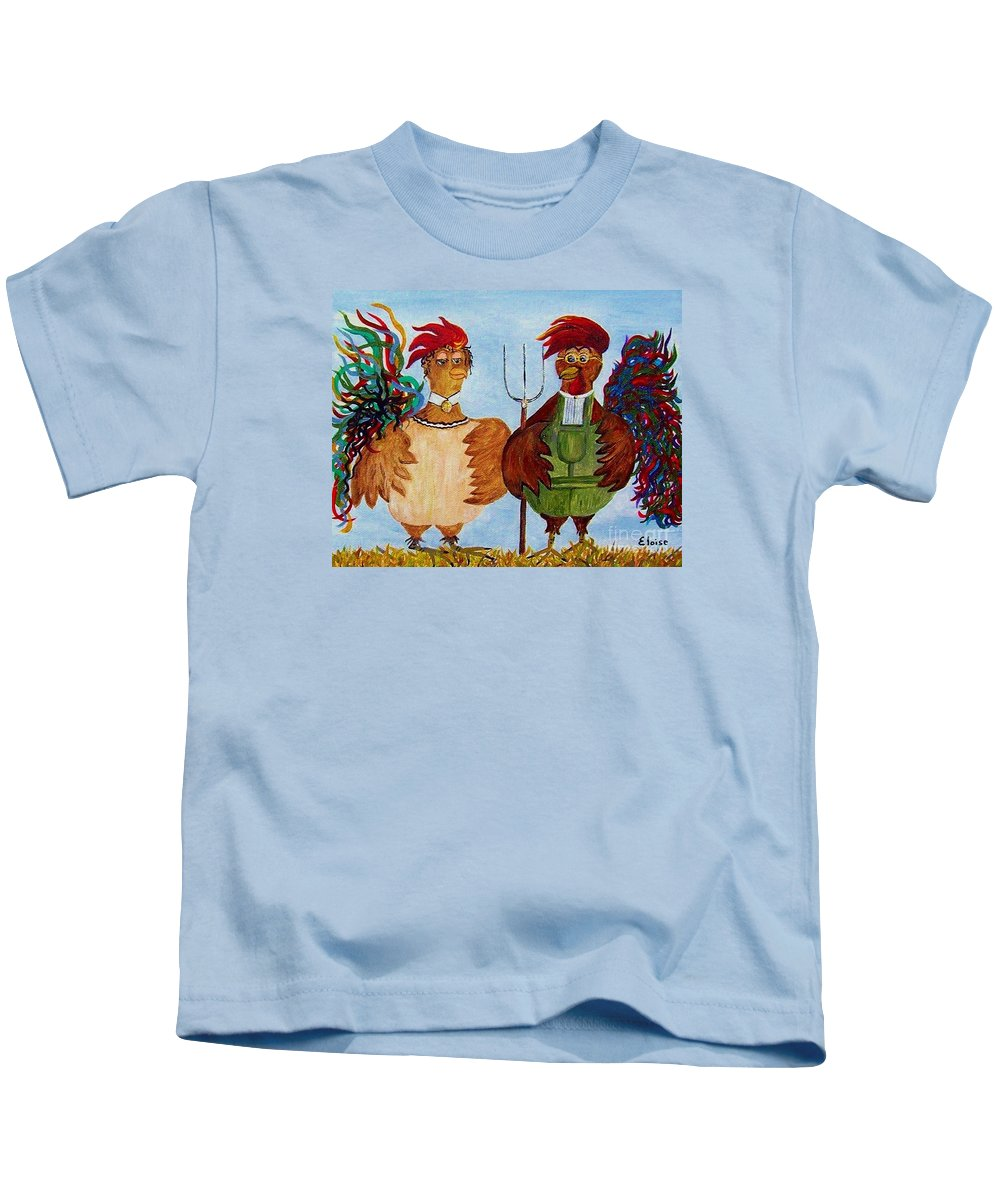 Rooster Kids T-Shirt featuring the painting American Gothic Down On The Farm - A Parody by Eloise Schneider Mote