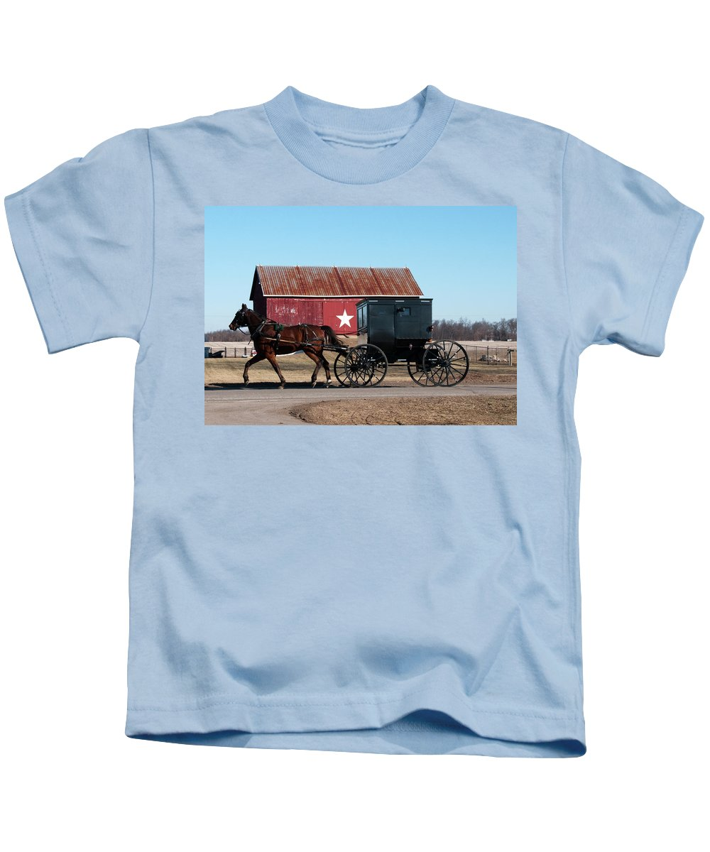 Barn Kids T-Shirt featuring the photograph Amish Buggy And Star Barn by David Arment