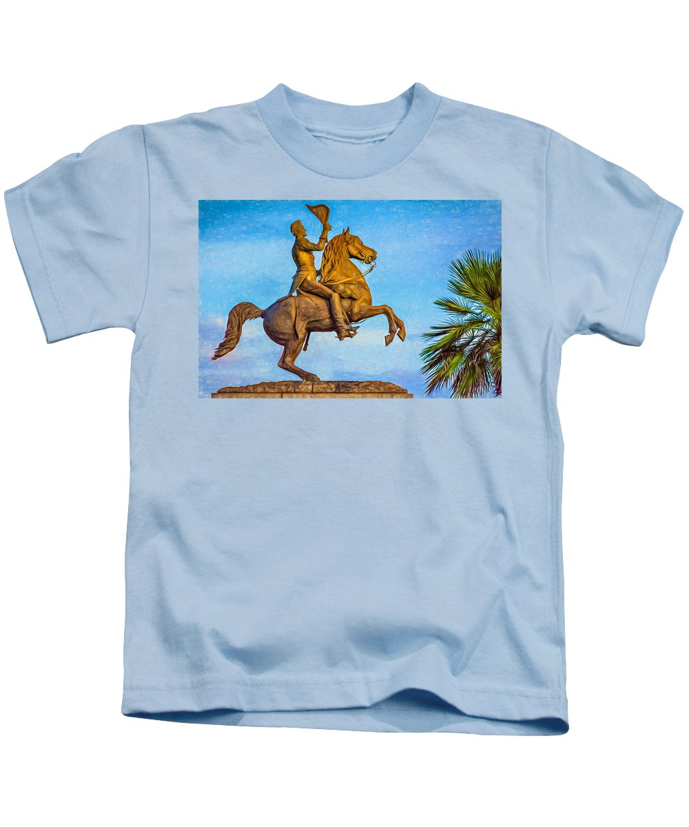 French Quarter Kids T-Shirt featuring the photograph Andrew Jackson - Paint by Steve Harrington