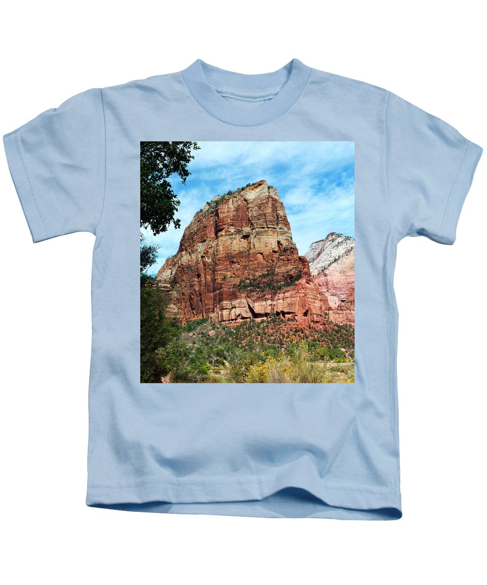 Angel's Kids T-Shirt featuring the photograph Angel's Landing by Alan Socolik